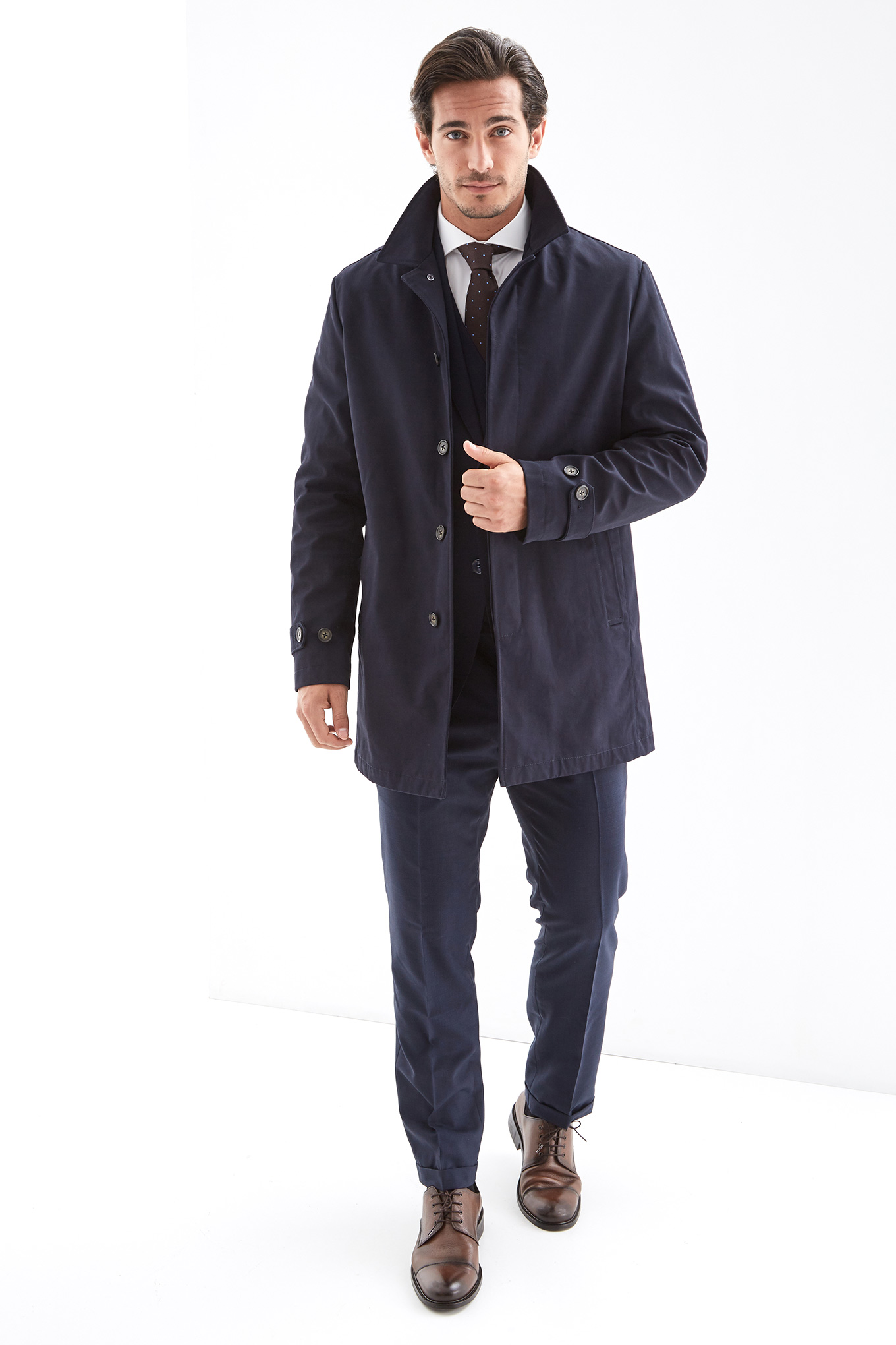 Raincoat Dark Blue Casual Man