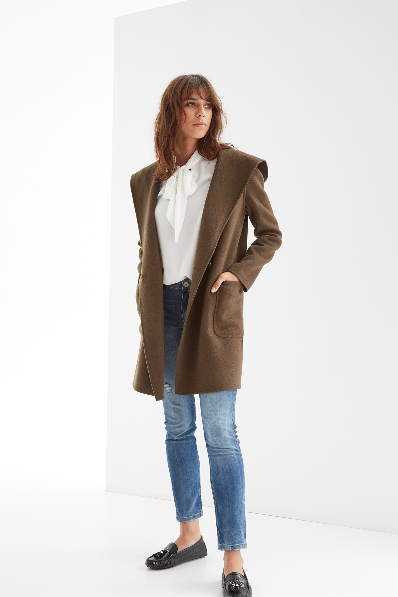 Coat Khaki Casual Woman