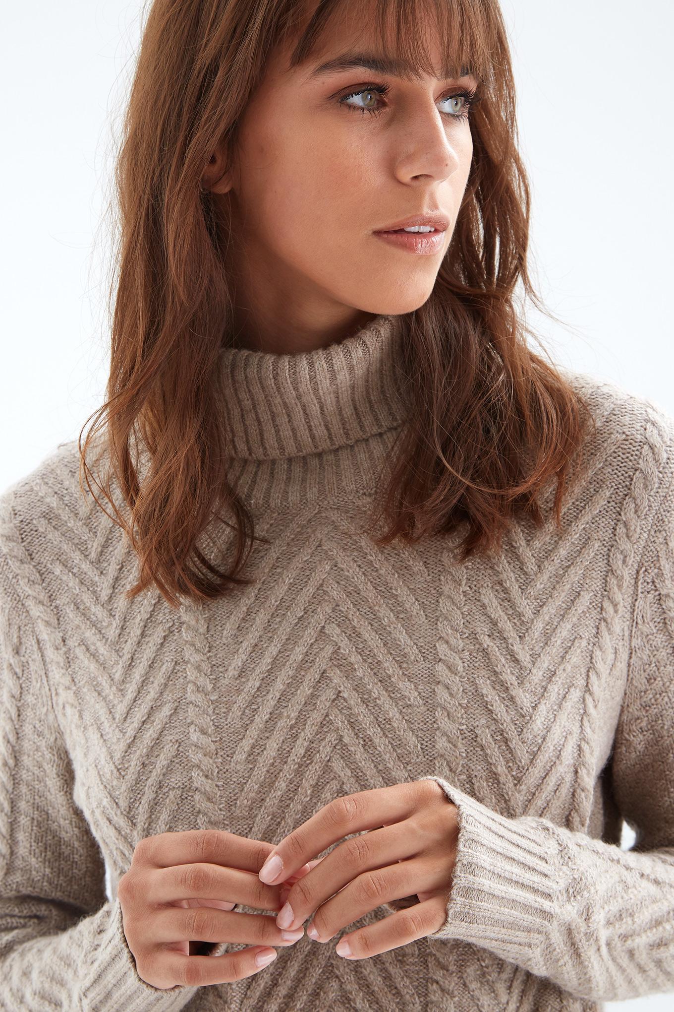 Sweater Light Beige Casual Woman