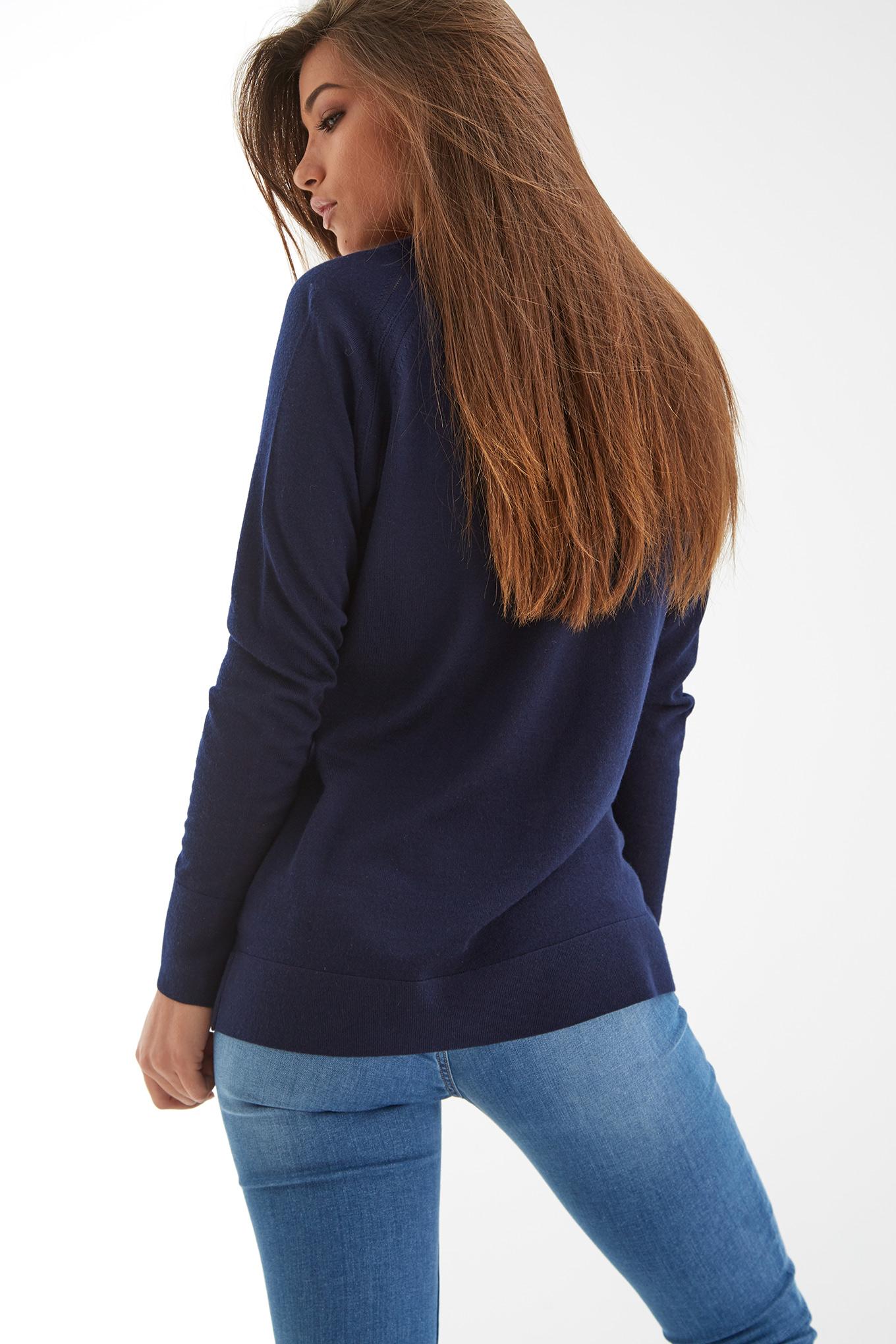 Malha Azul Escuro Casual Mulher