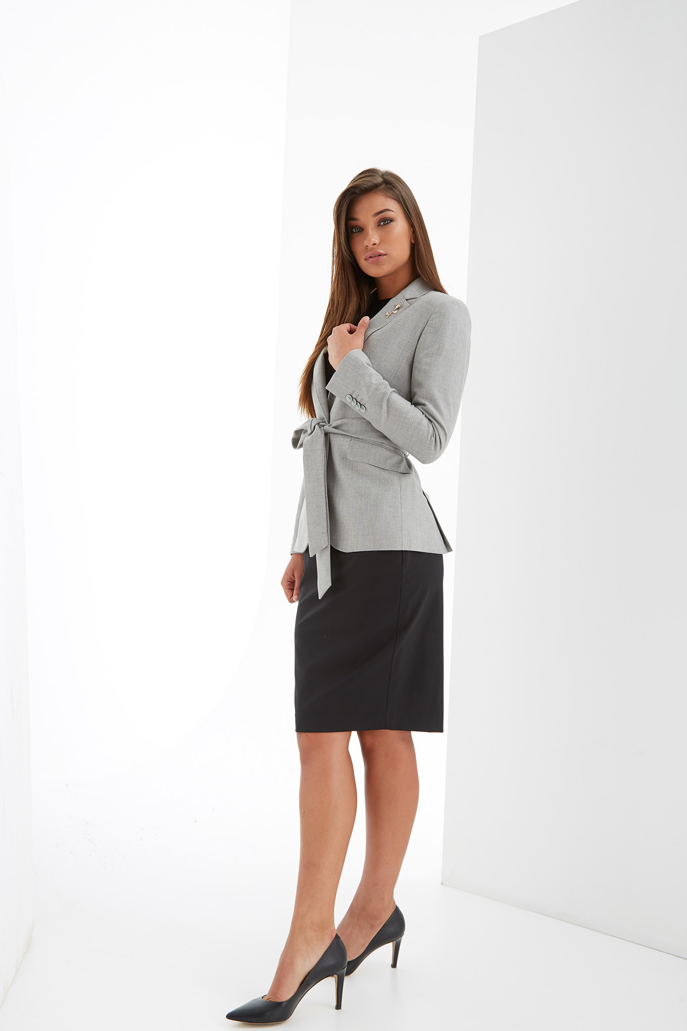 Blazer Light Grey Classic Woman
