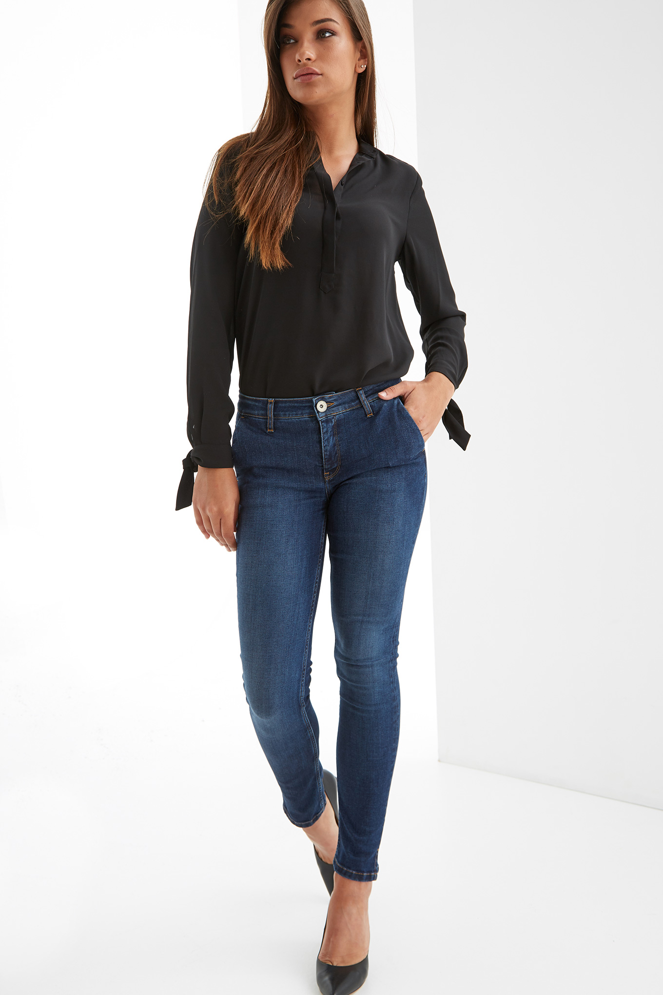 Jeans Dark Blue Casual Woman