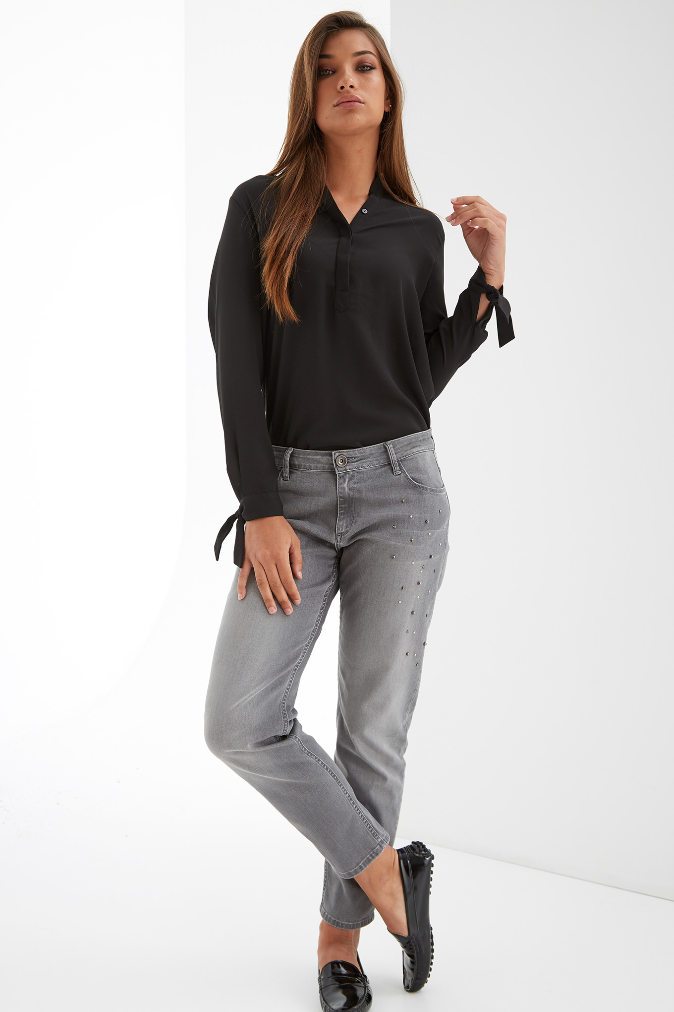 Jeans Light Grey Casual Woman