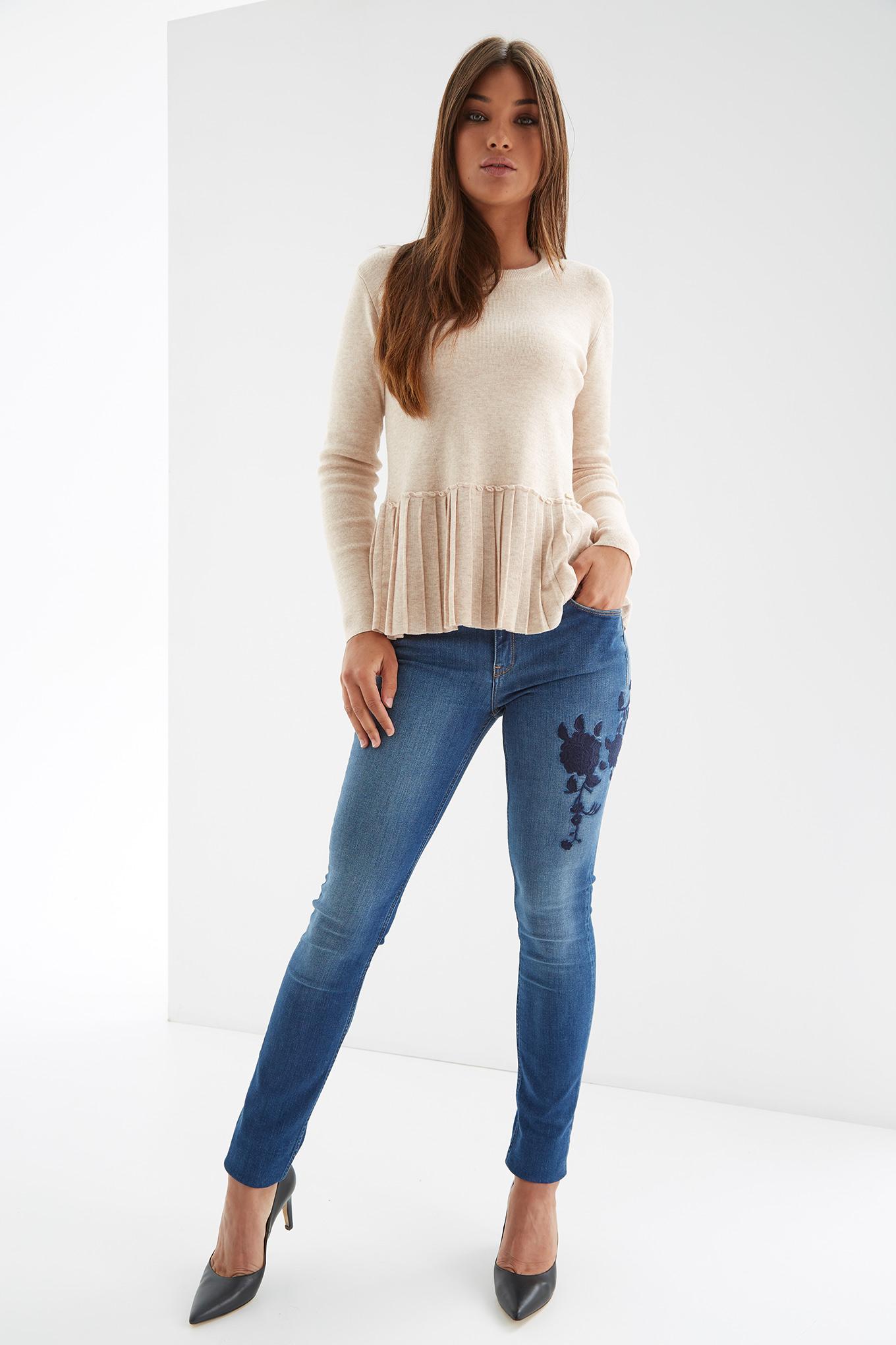 Jeans Medium Blue Casual Woman