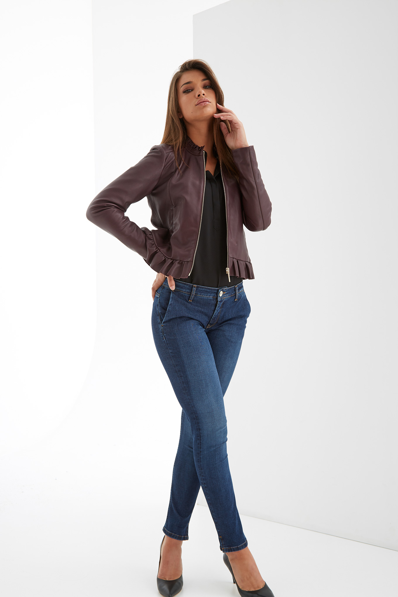 Leather Jacket Plum Casual Woman