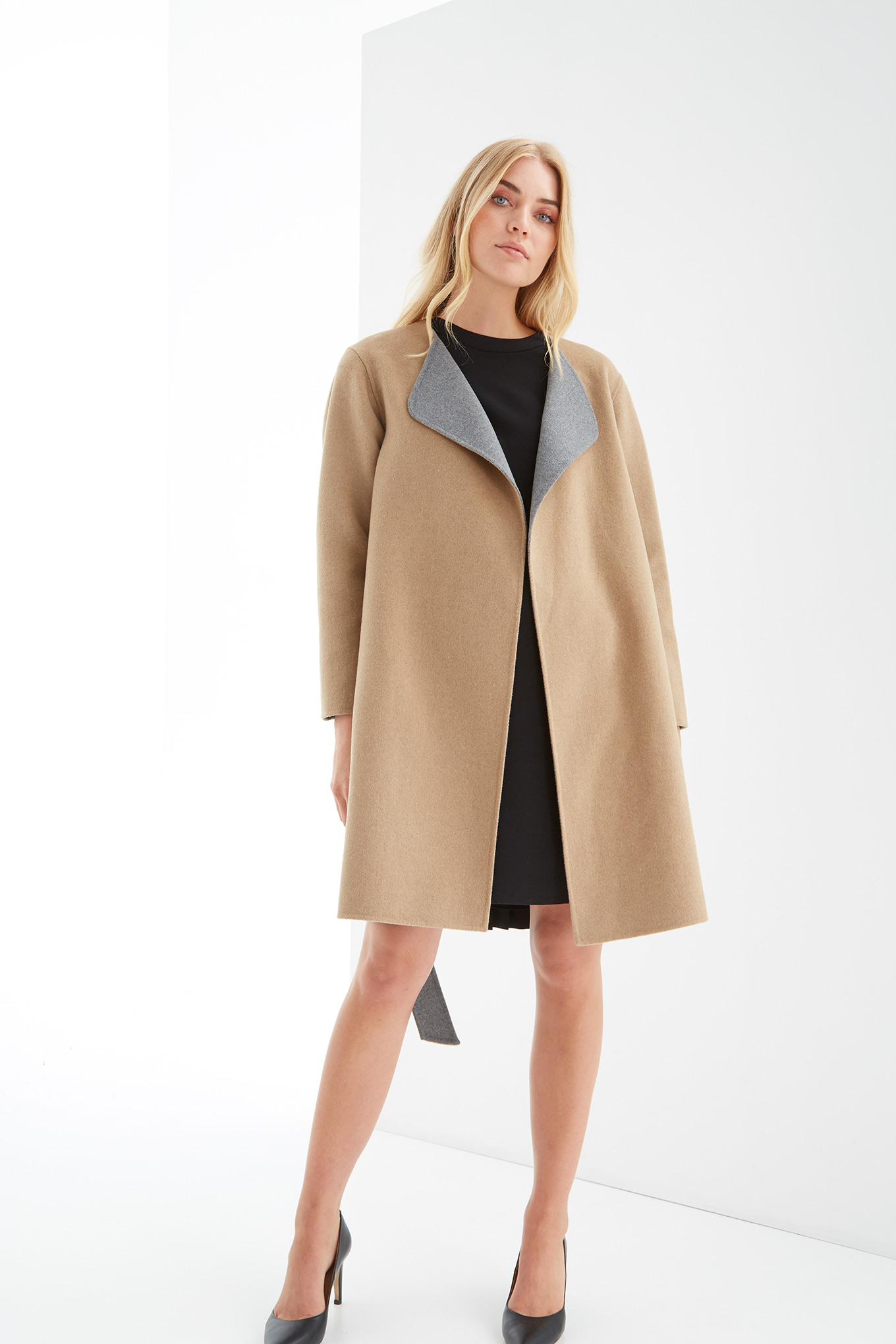 Overcoat Mix Grey Casual Woman