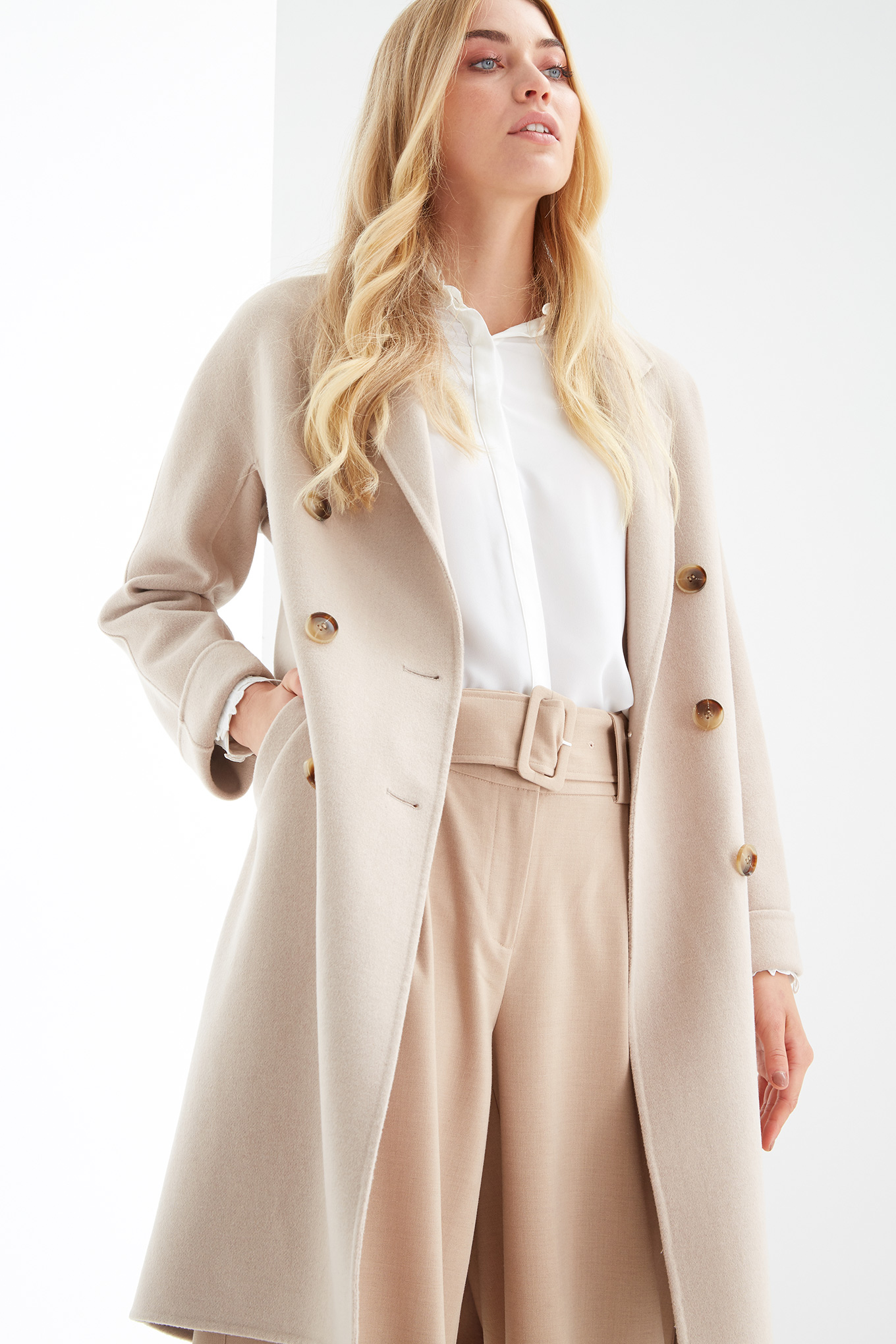 Overcoat Beige Casual Woman