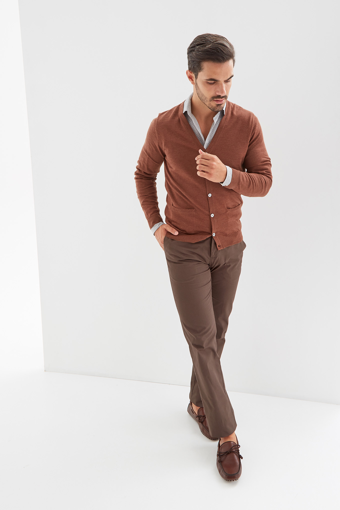 Cardigan Camel Casual Man