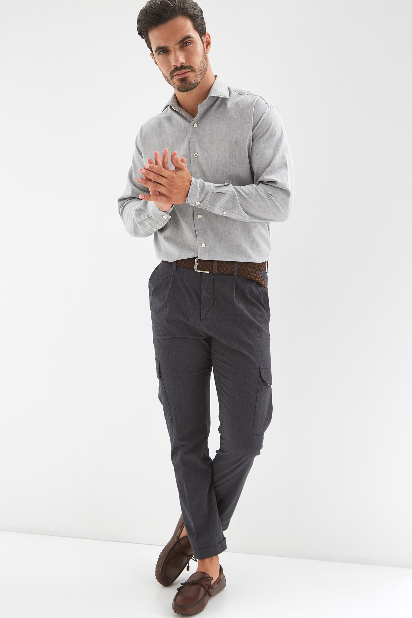 Shirt Light Grey Casual Man