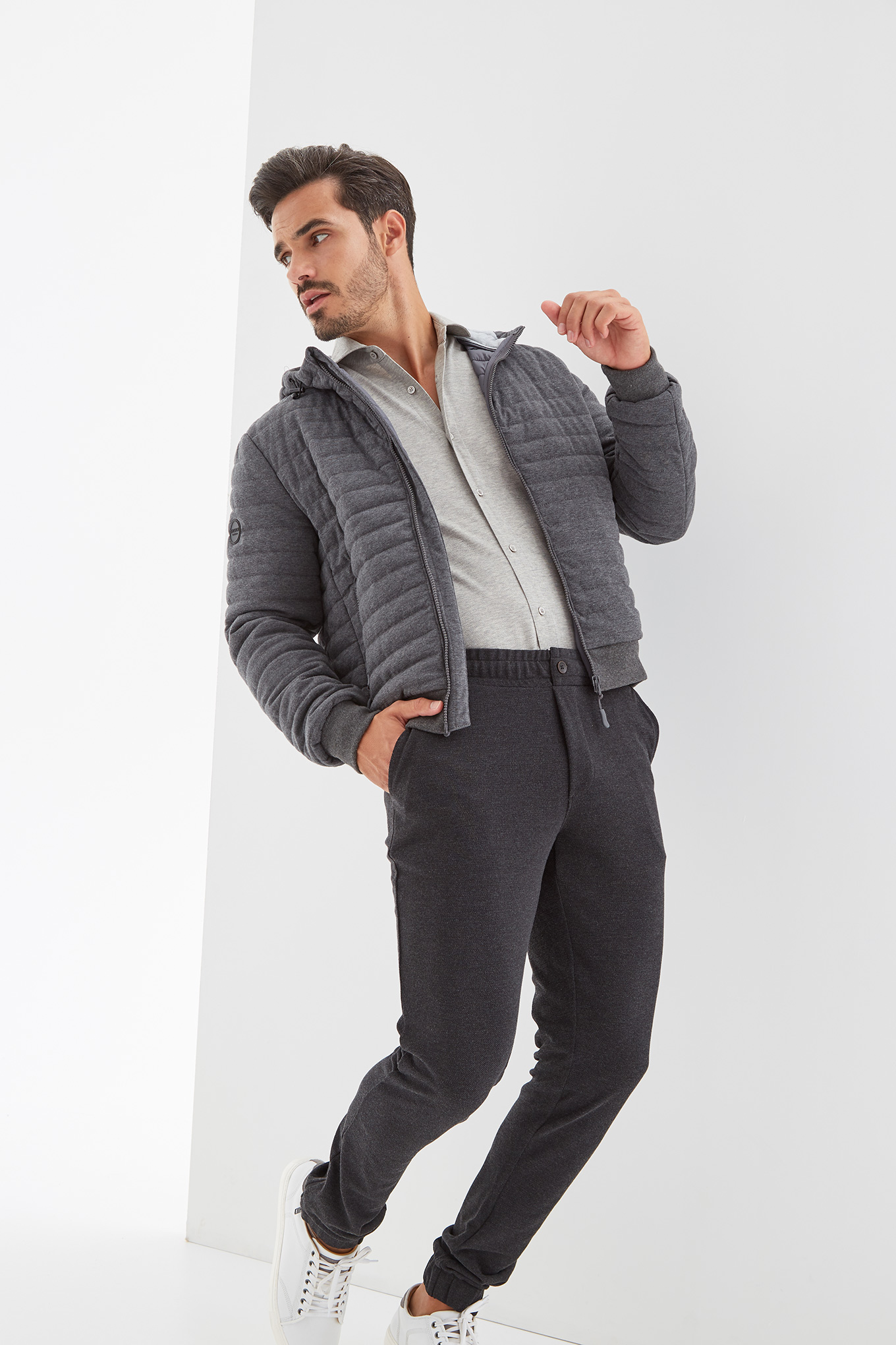 Jacket Mix Grey Casual Man
