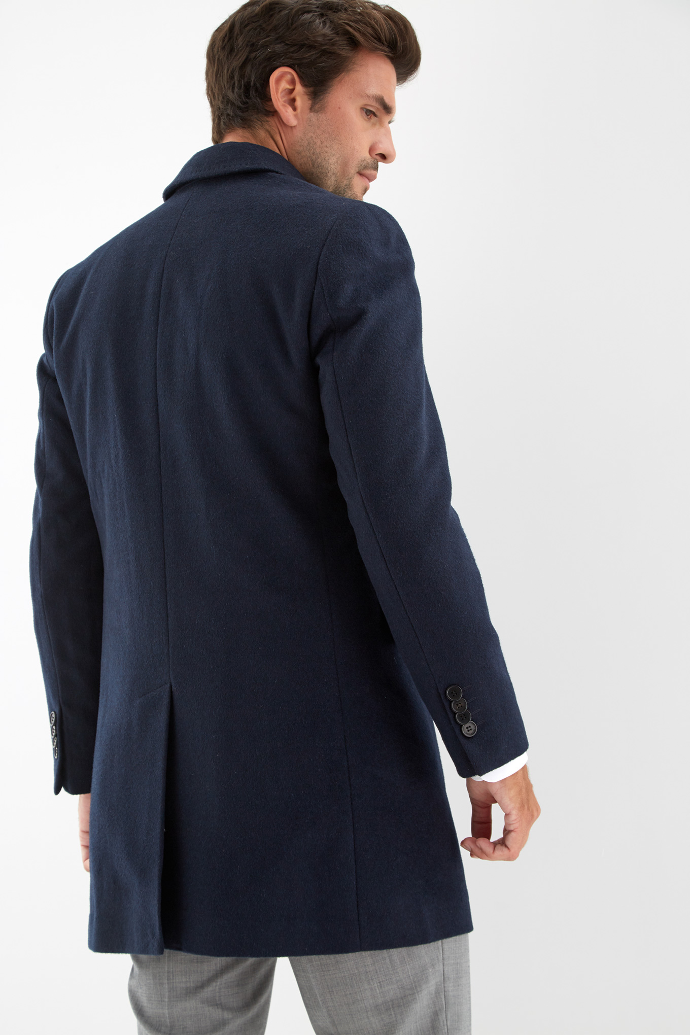 Overcoat Dark Blue Casual Man