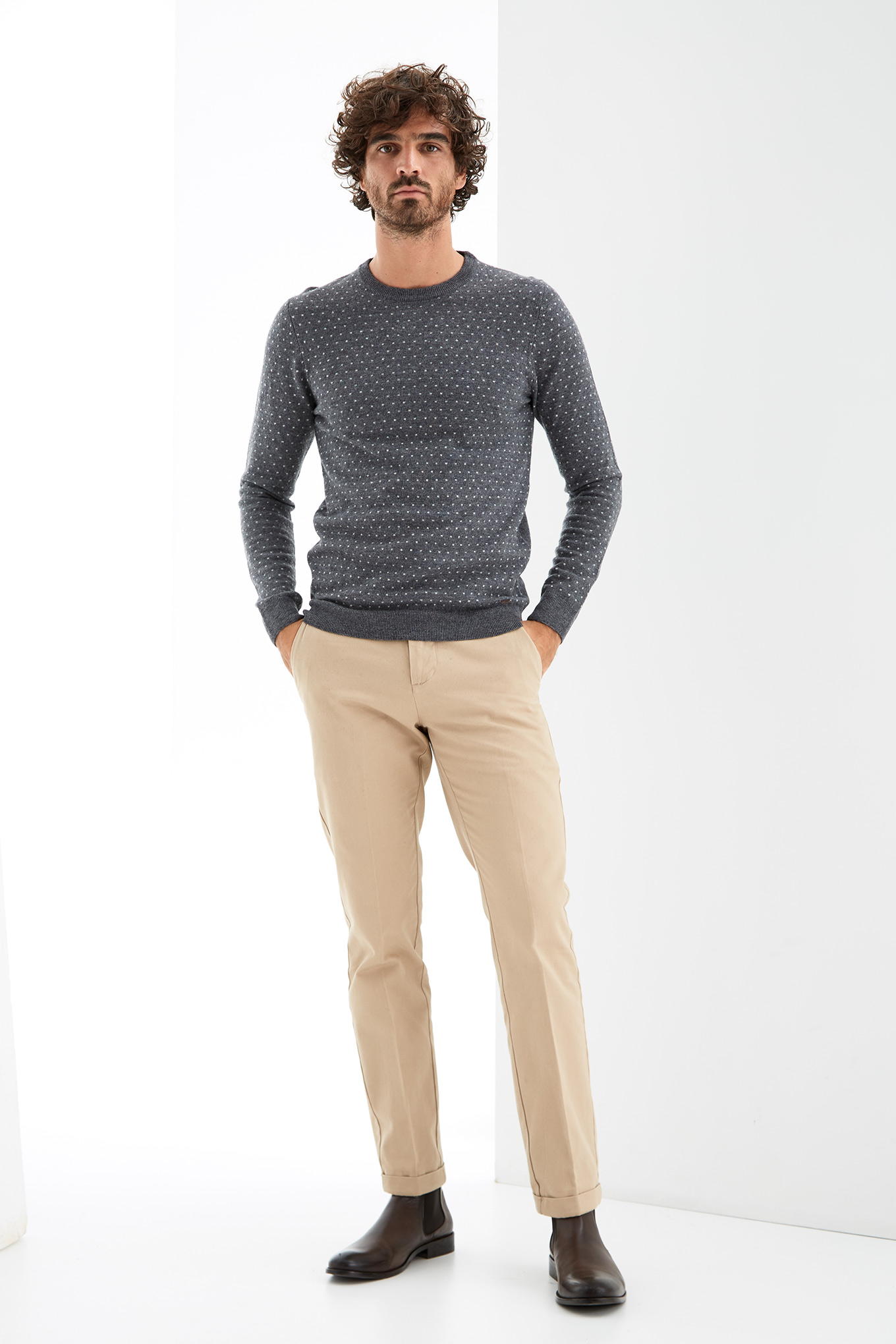 Sweater Dark Green Casual Man