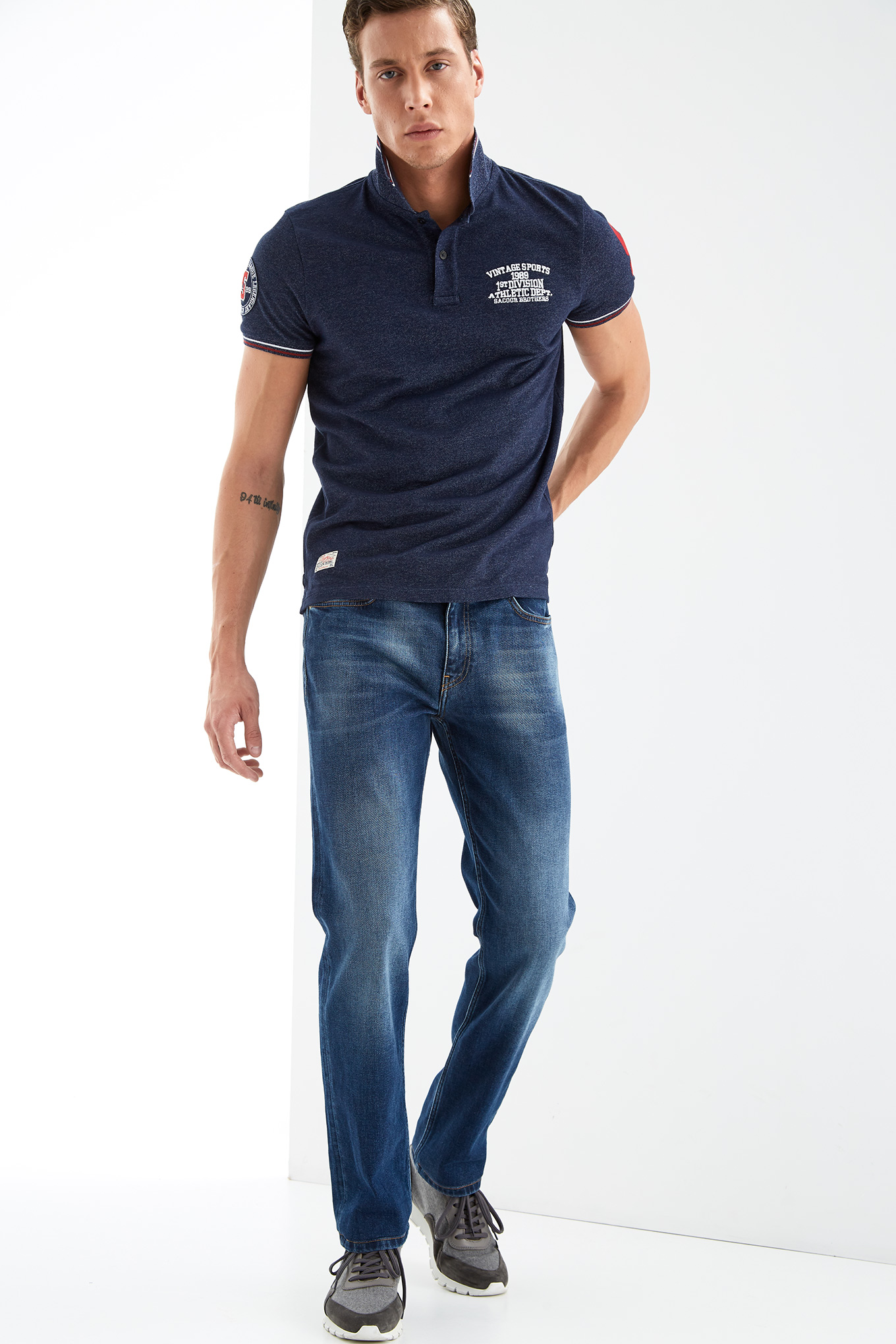 Jeans Medium Blue Casual Man