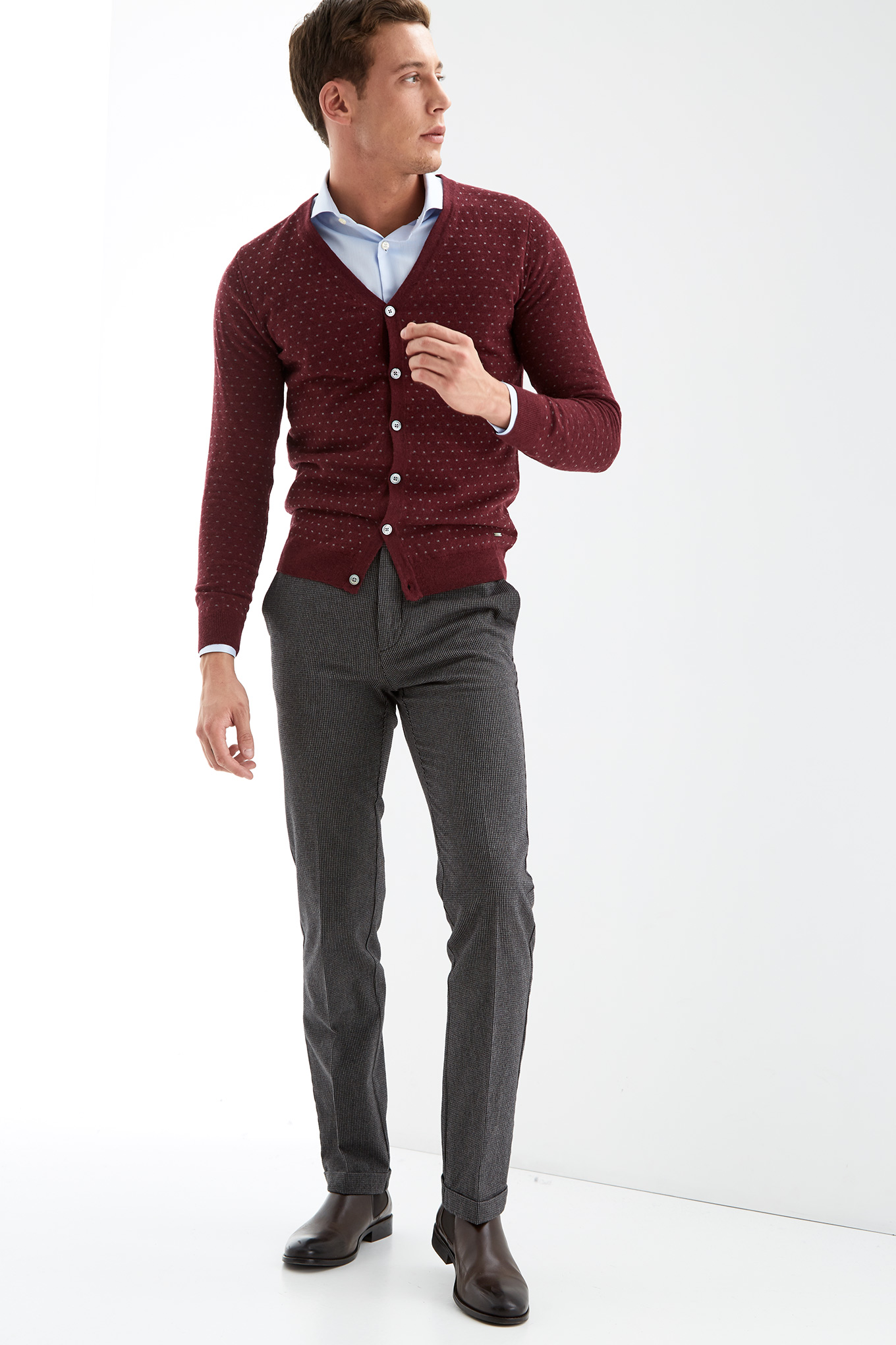 Cardigan Bordeaux Casual Man