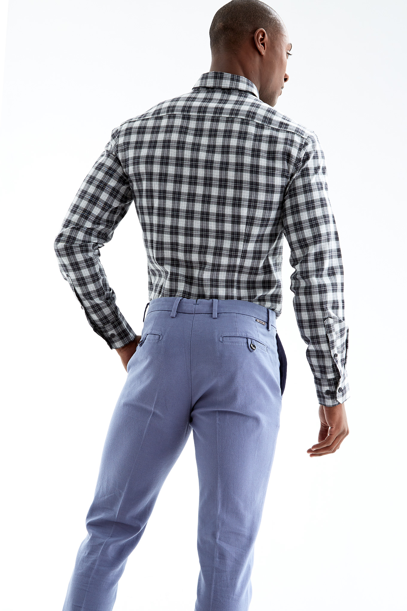 Camisa Cinza Casual Homem