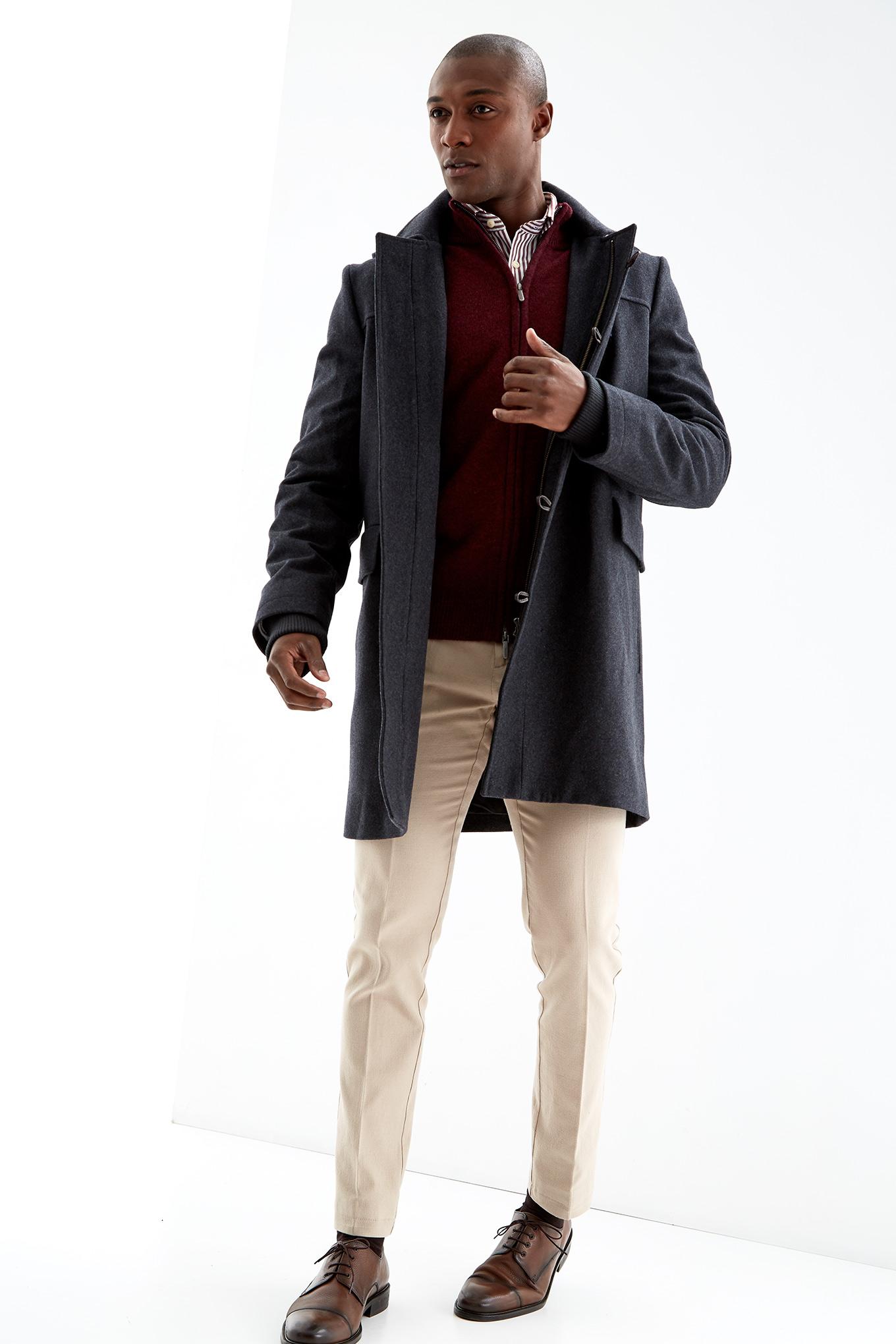 Coat Dark Grey Casual Man