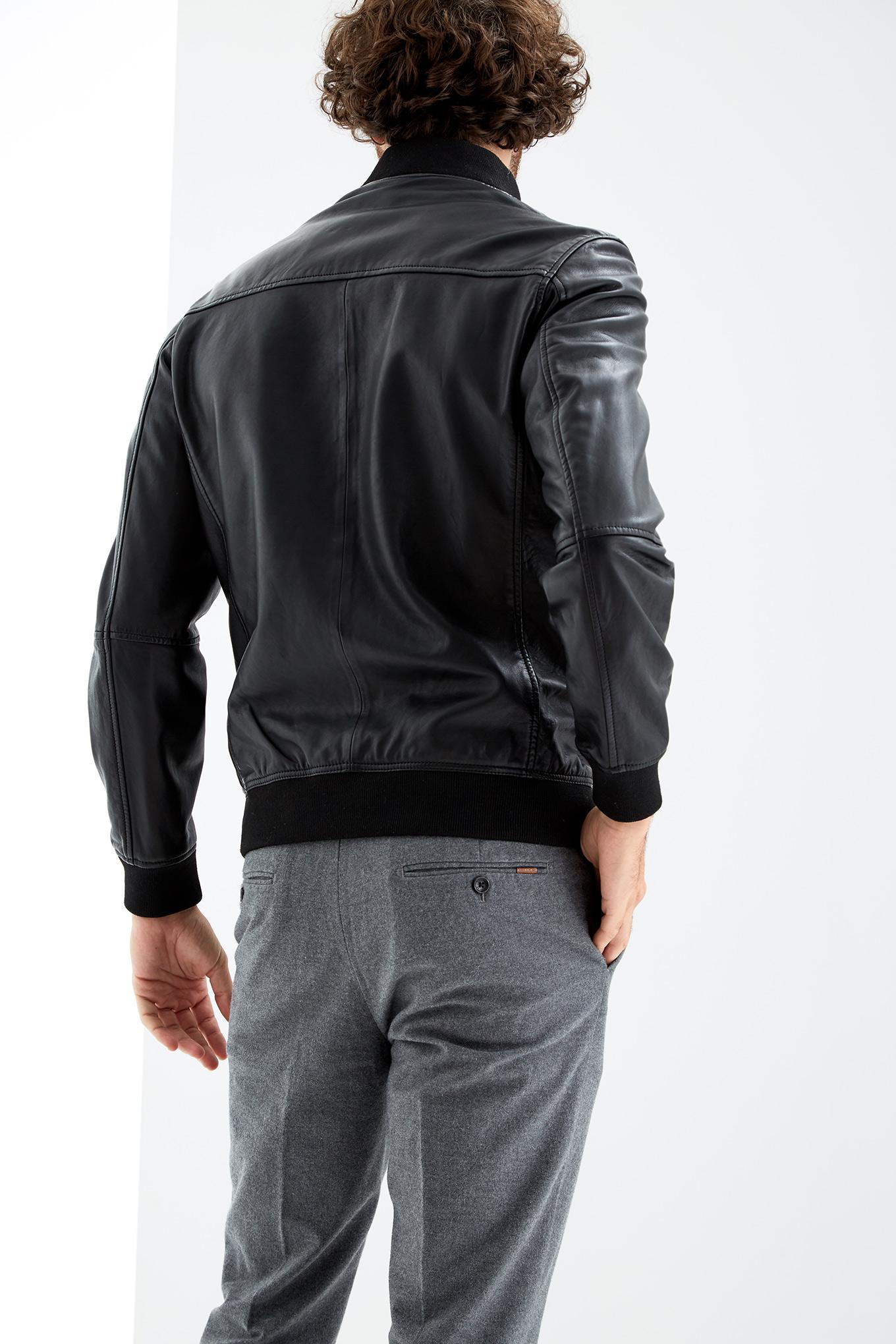 Leather Jacket Black Casual Man