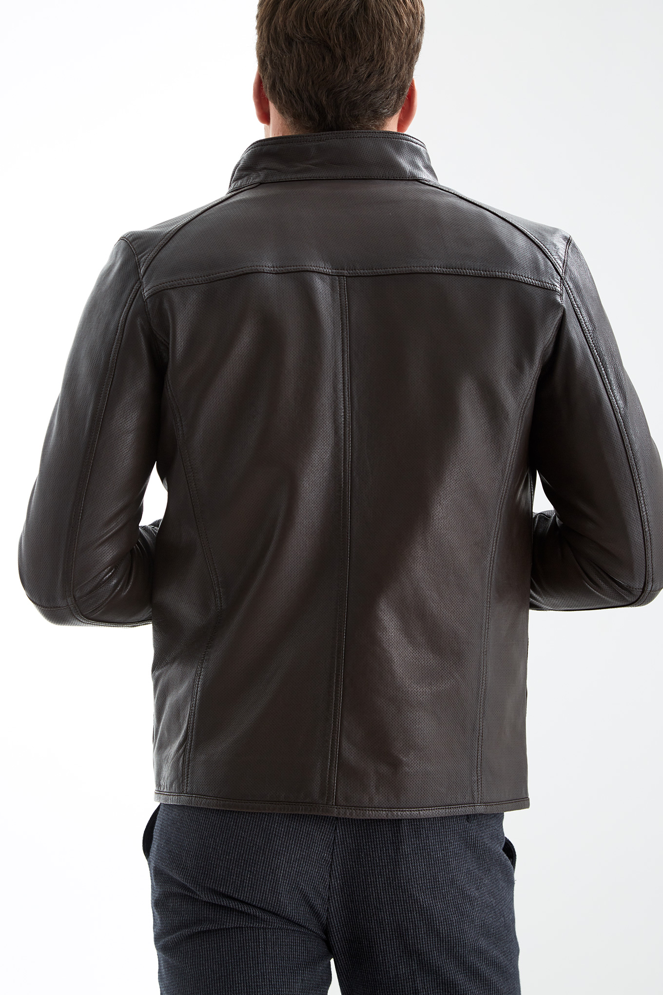 Leather Jacket Chocolate Casual Man