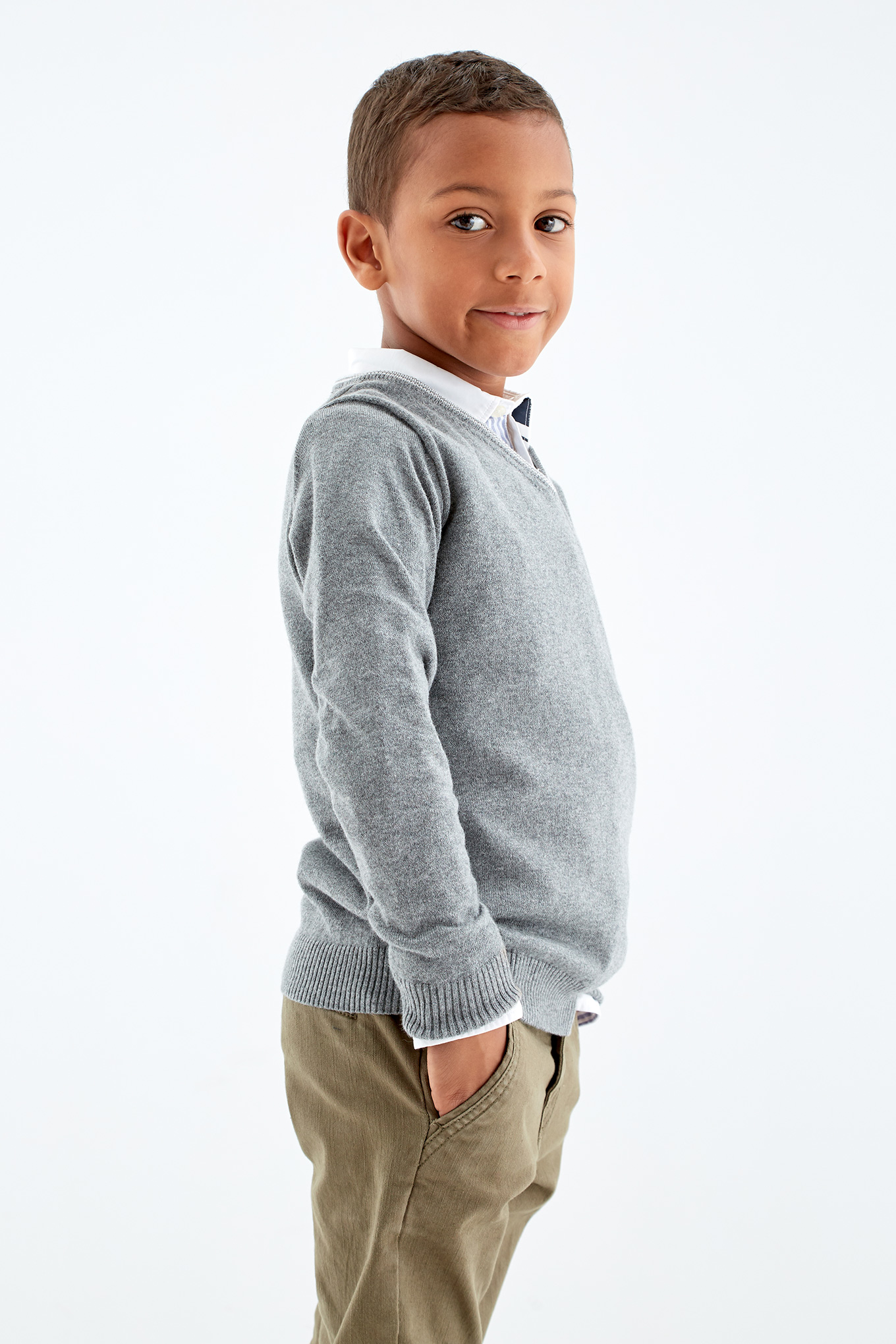 Sweater Mix Grey Casual Boy