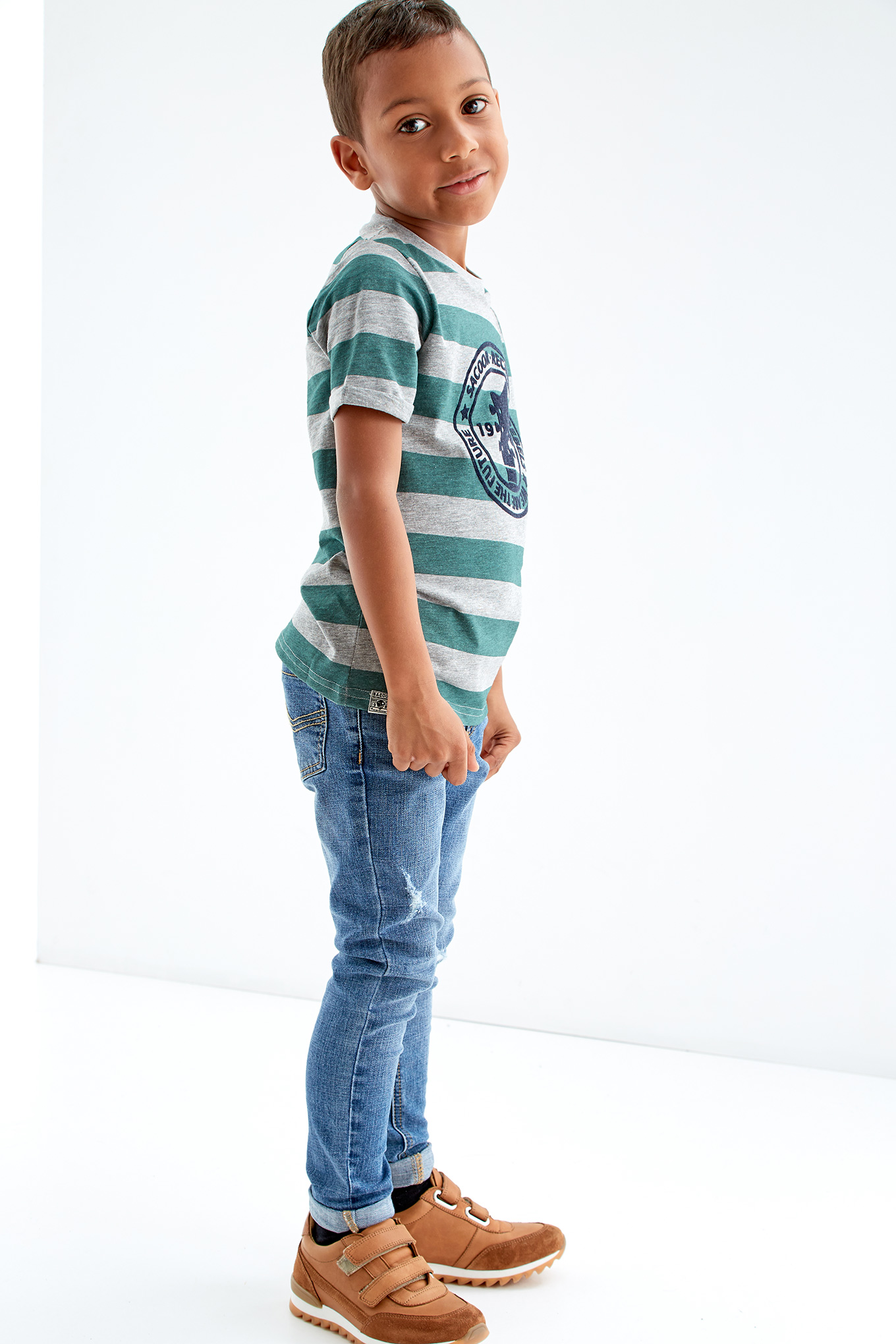 T-Shirt Green Casual Boy