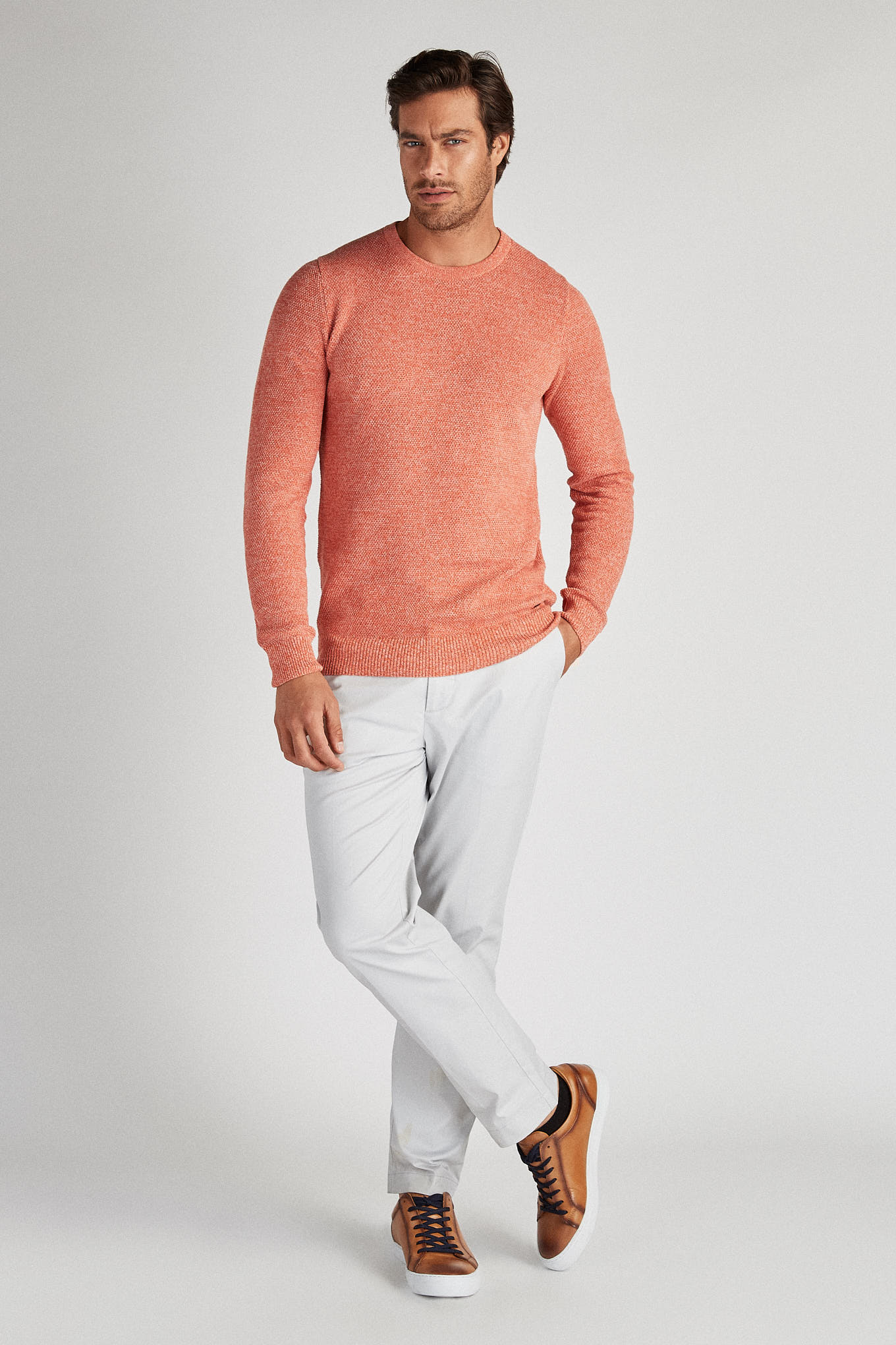 Sweater Orange Casual Man
