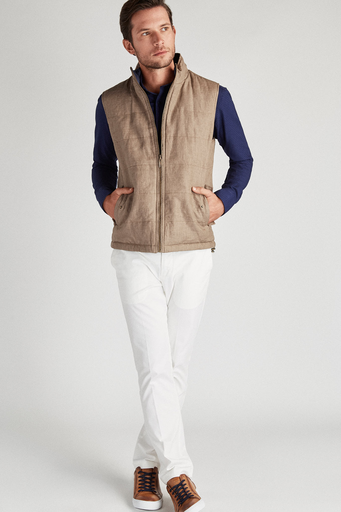 Waist Coat Dark Beige Casual Man