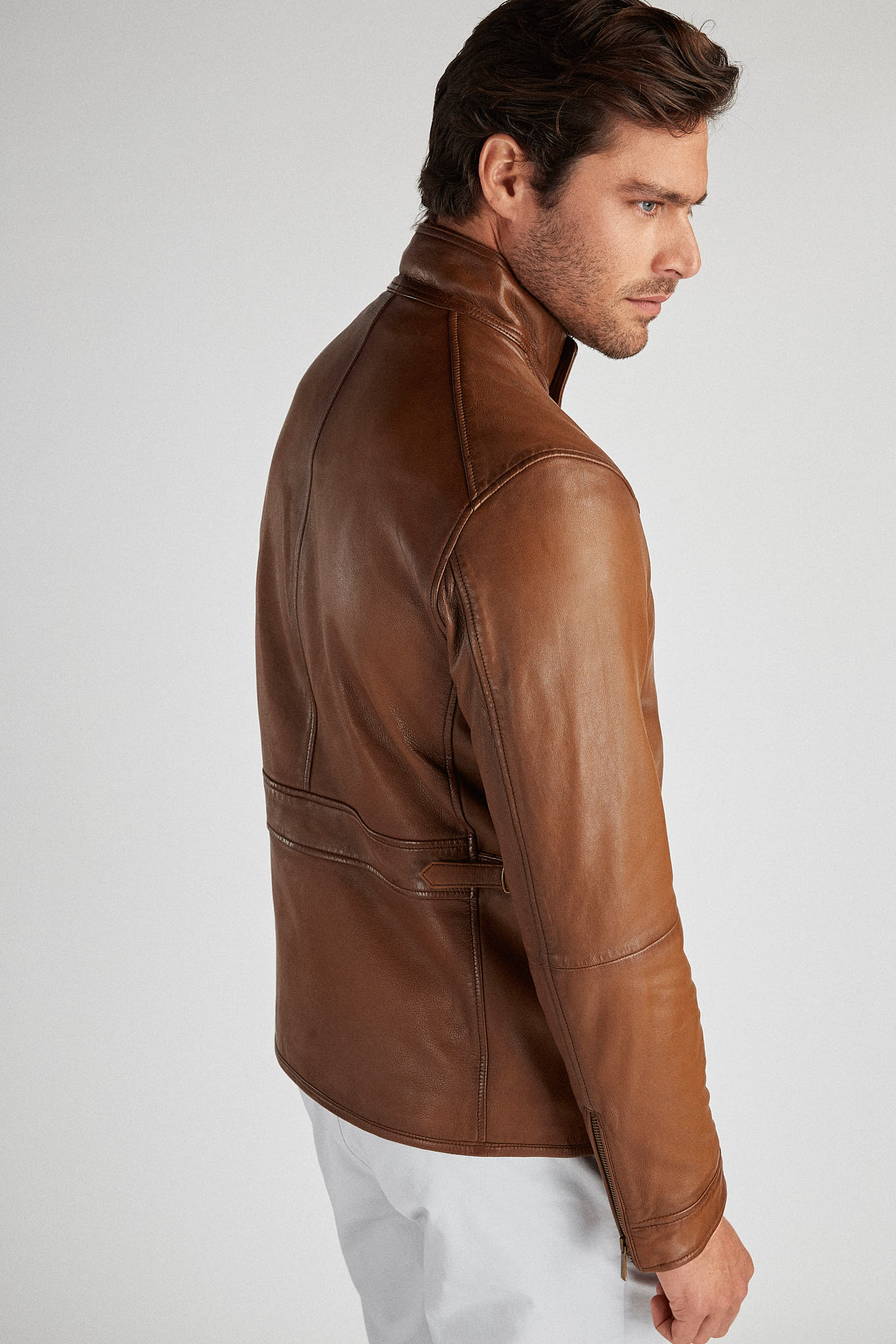 Leather Jacket Cognac Casual Man