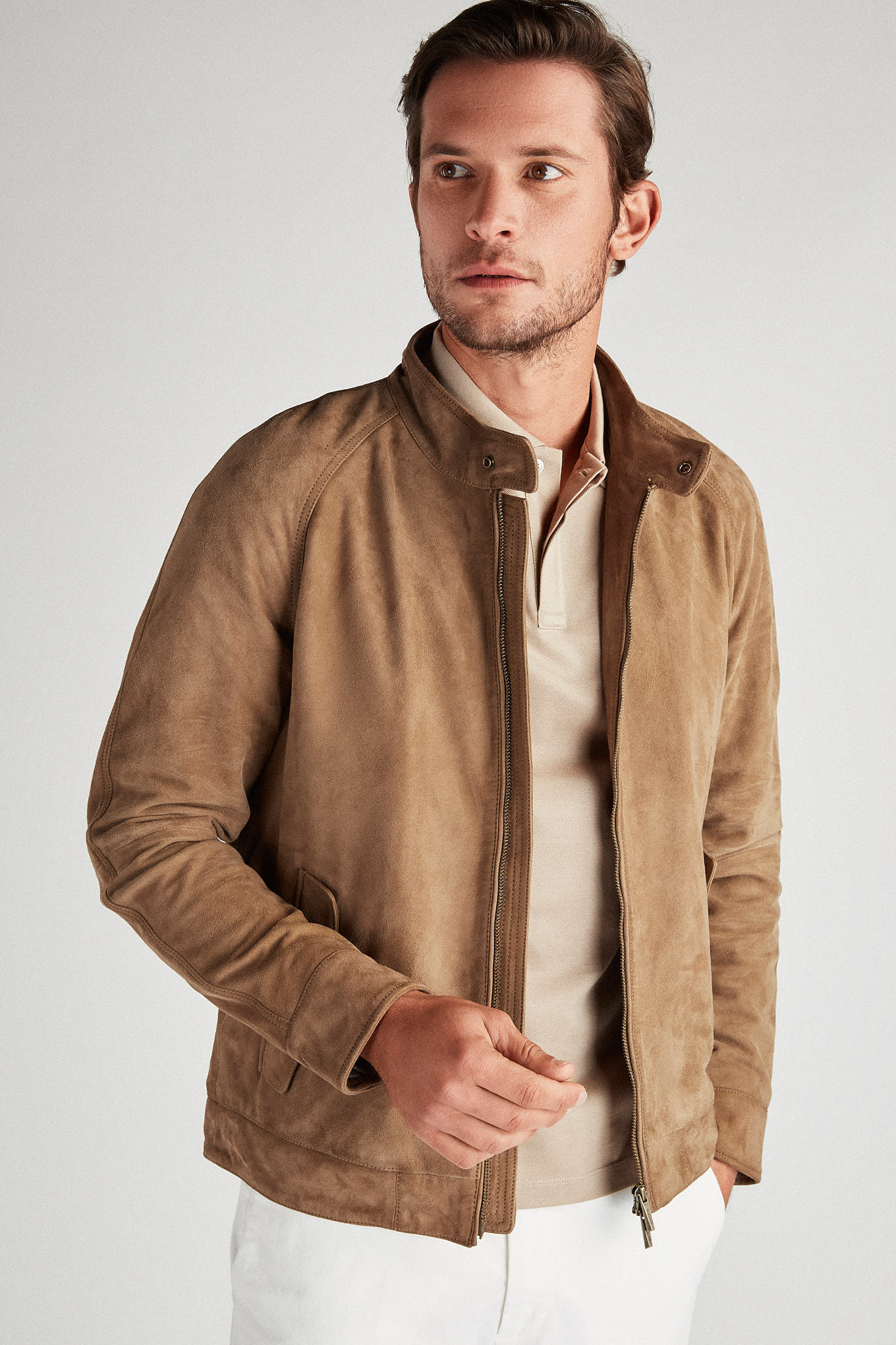 Leather Jacket Beige Casual Man