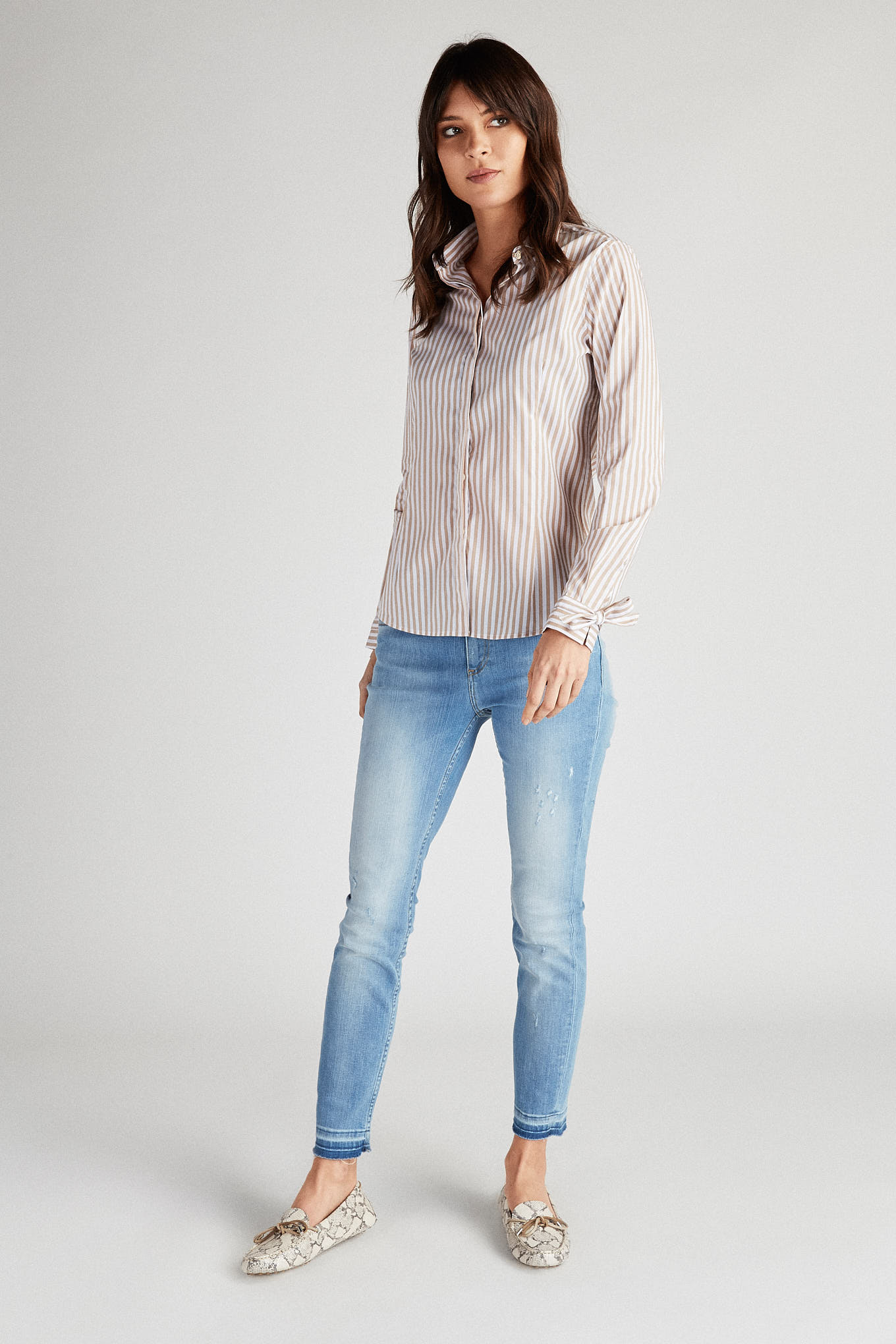 Shirt Light Beige Classic Woman