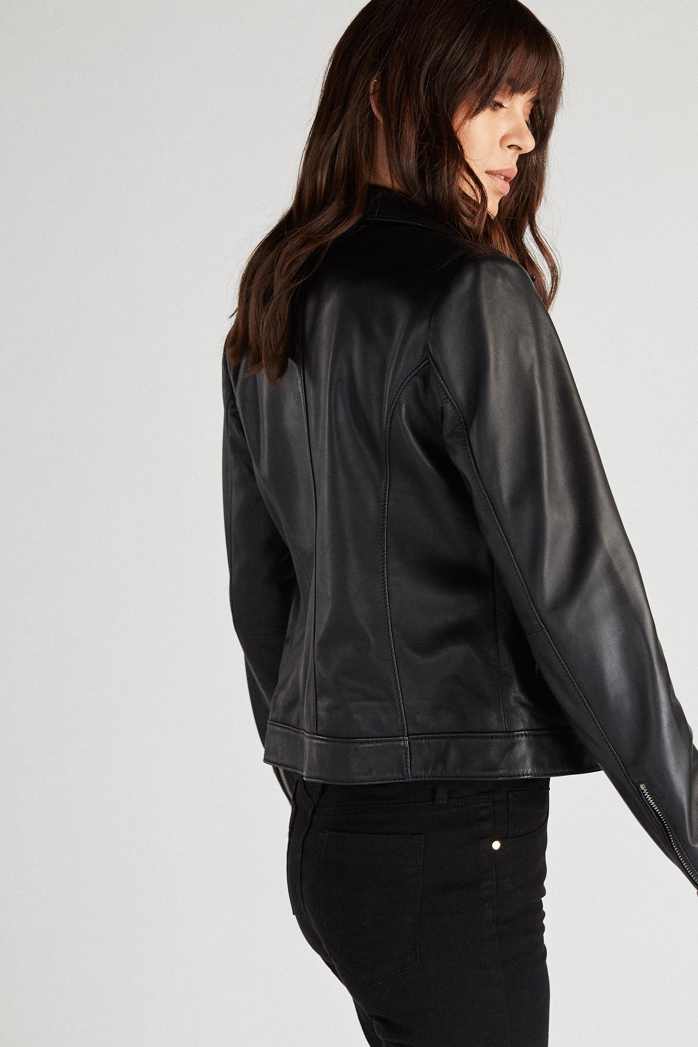 Leather Jacket Black Sport Woman