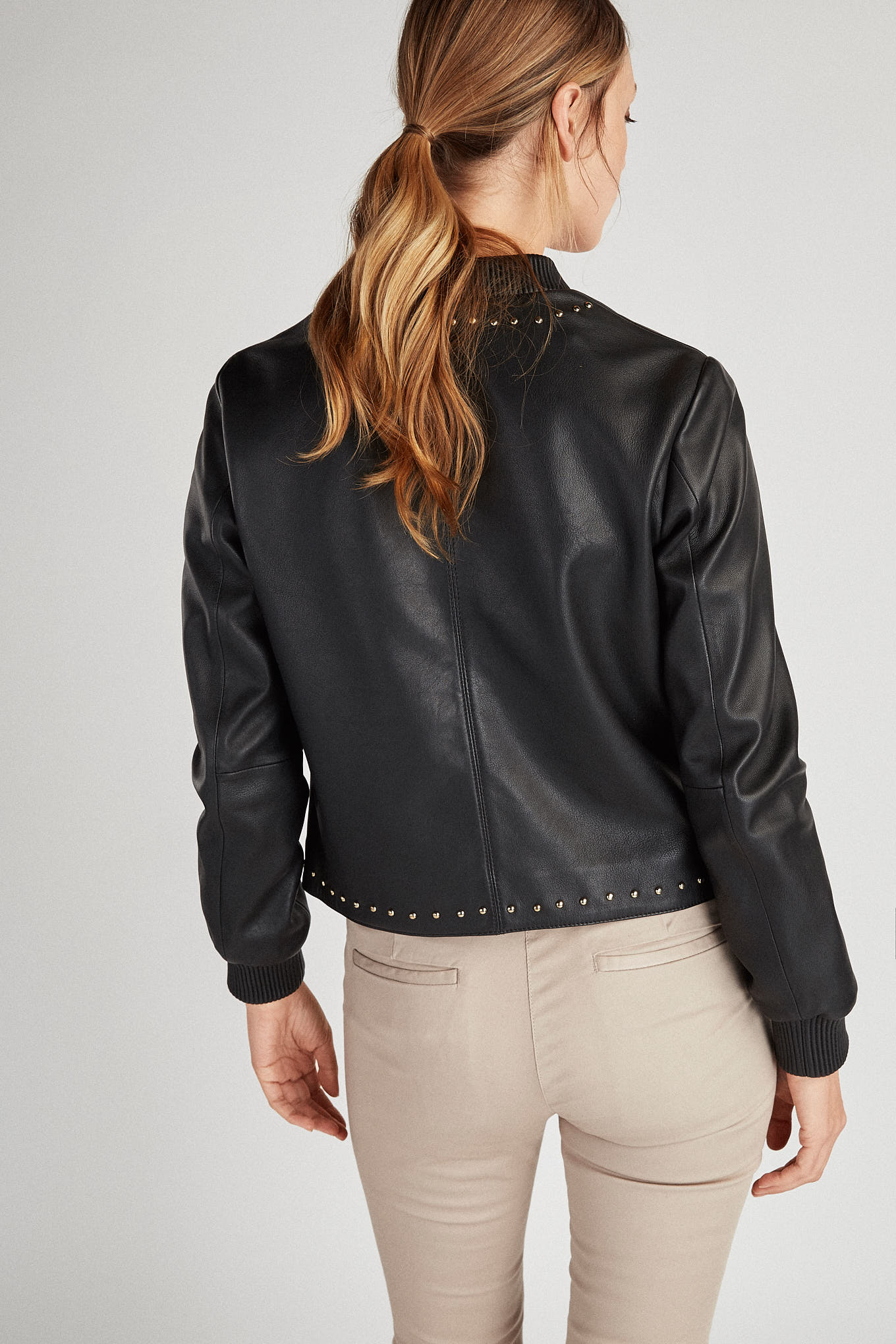 Leather Jacket Black Sport Woman