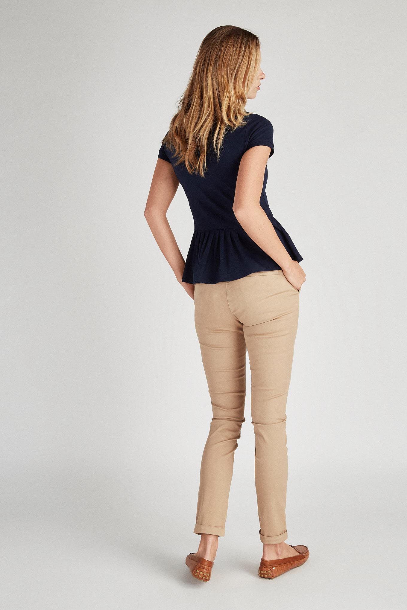 Chino Trousers Beige Casual Woman