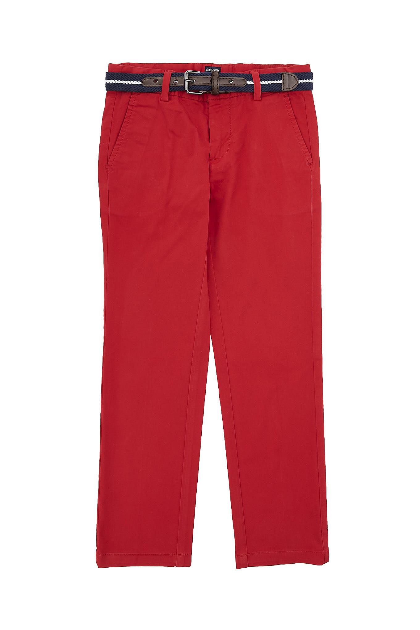 Calças Chino Vermelho Casual Rapaz