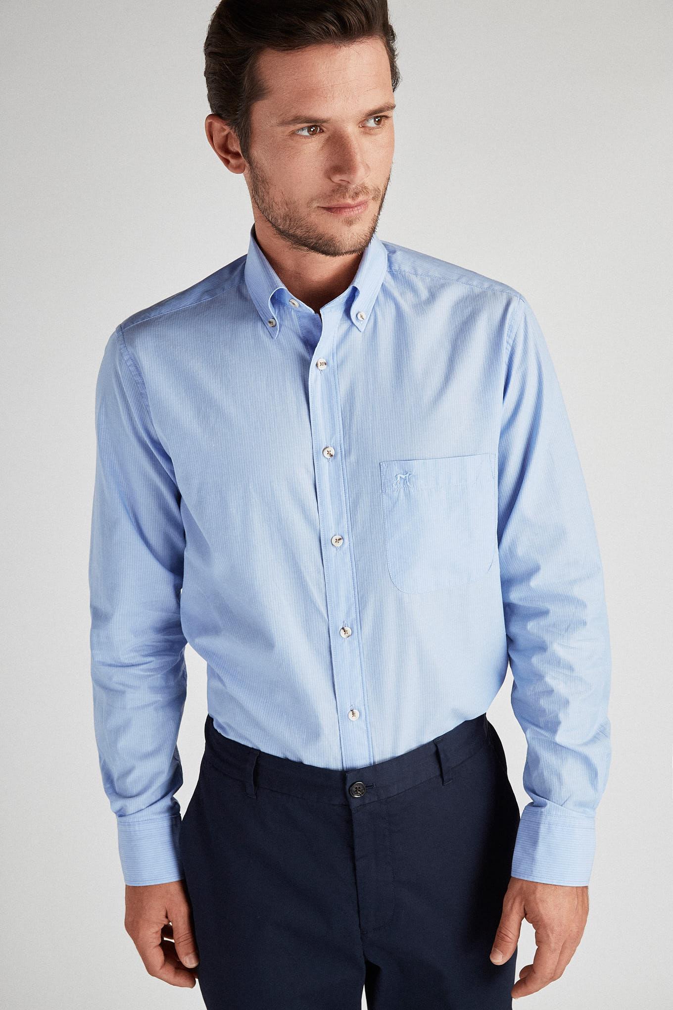 Camisa Azul Claro Sport Homem