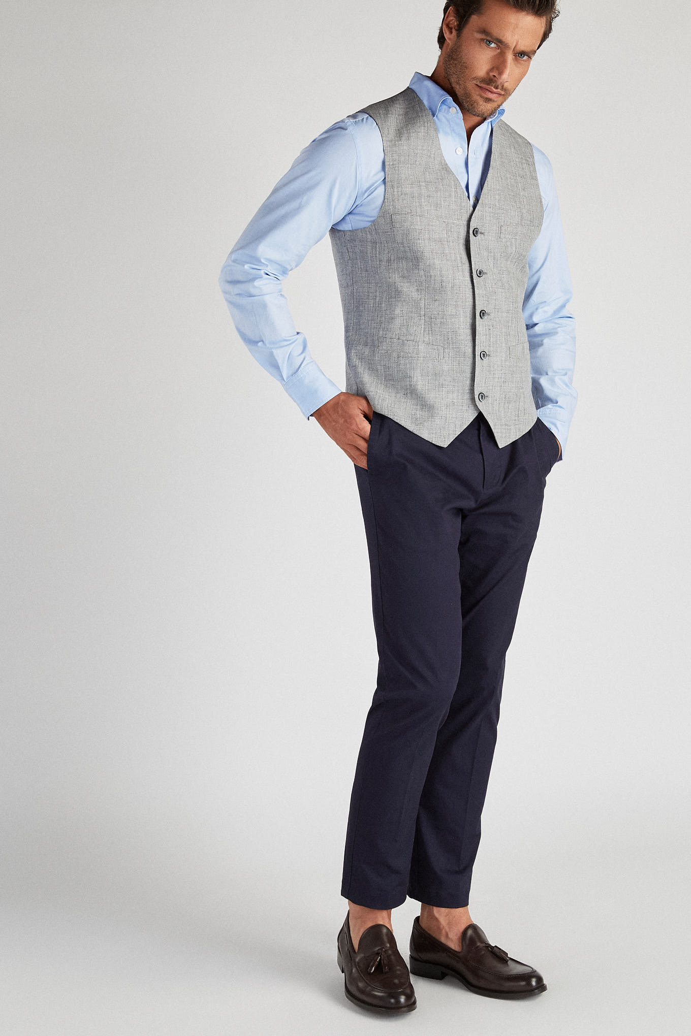 Waist Coat Light Grey Casual Man