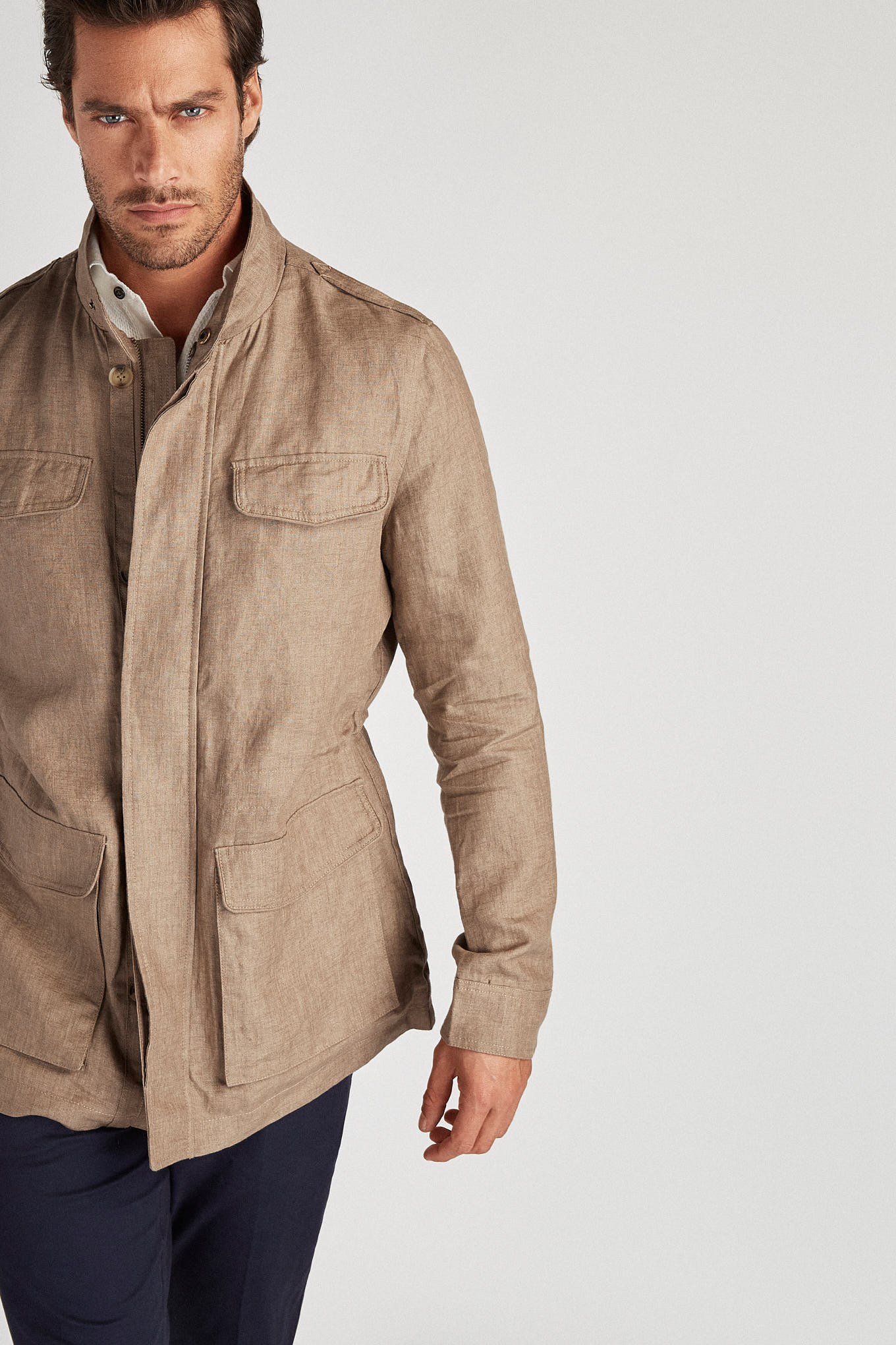 Parka Dark Beige Casual Man