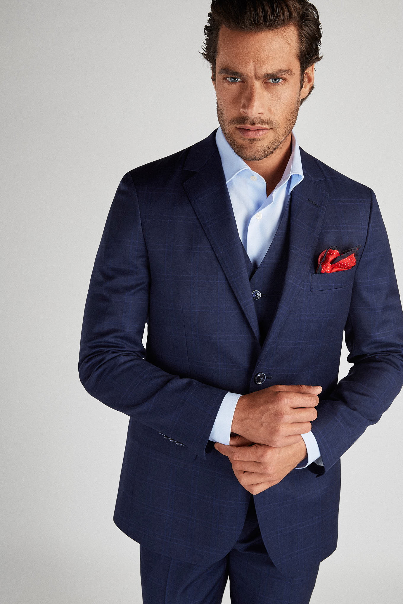 Suit with Vest Medium Blue Classic Man
