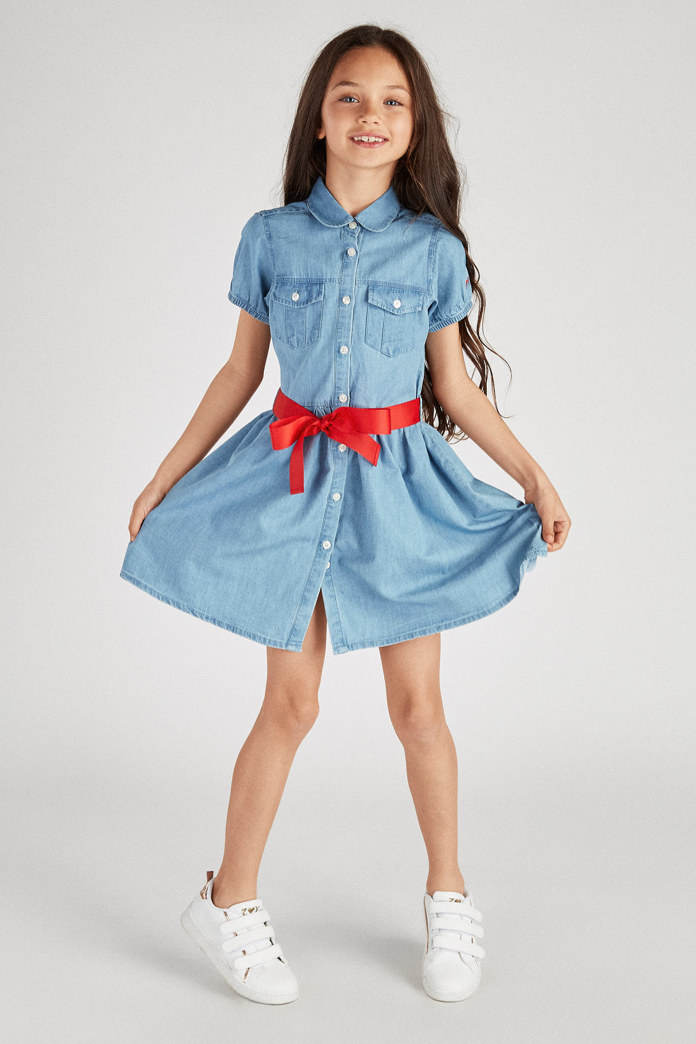 Shirt Dress Medium Blue Casual Girl