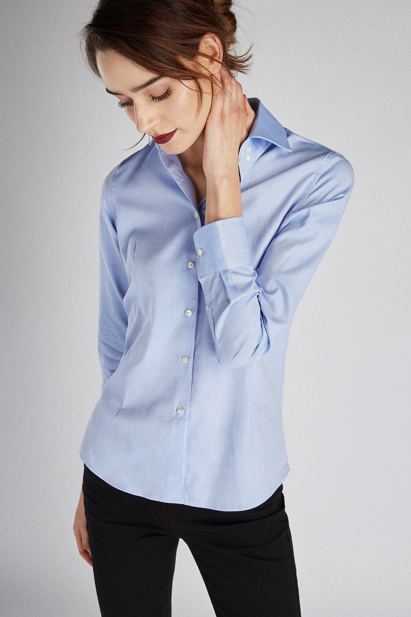 Shirt Light Blue Classic Woman