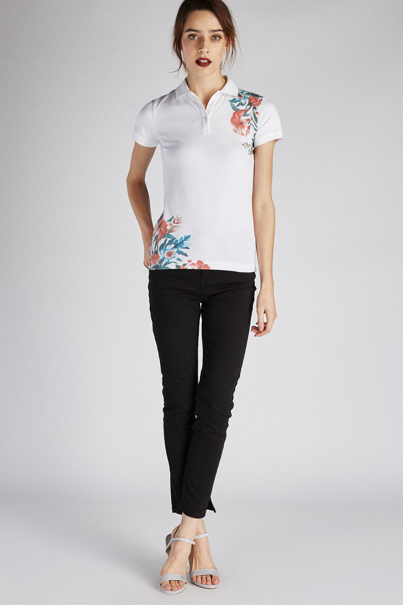 Polo Piquet Print Sport Woman