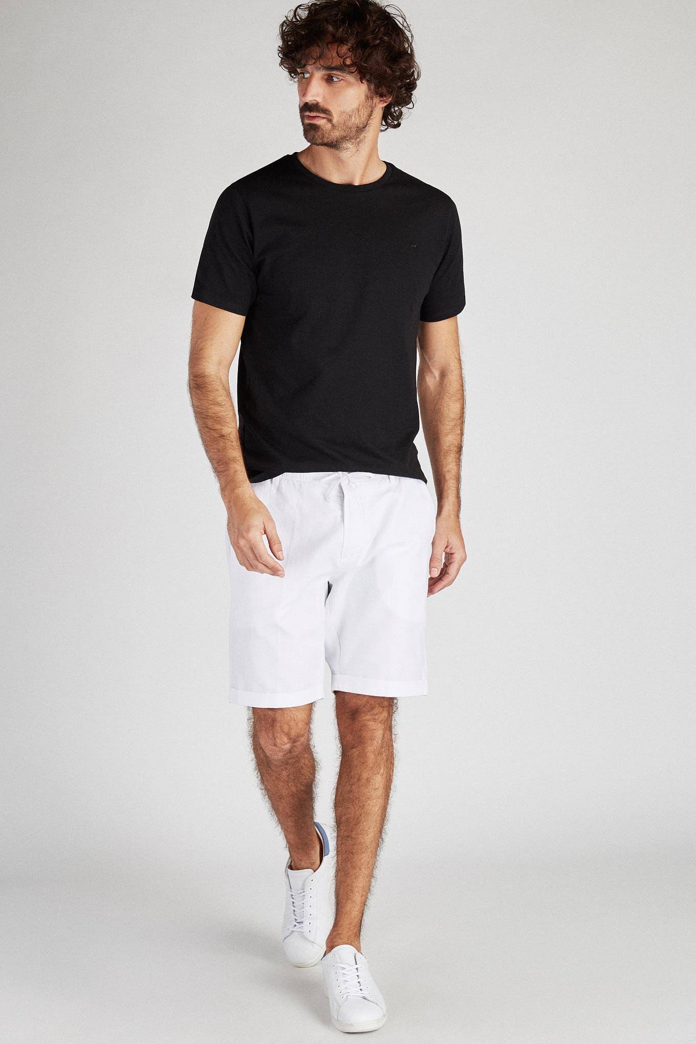 Bermuda Branco Casual Homem