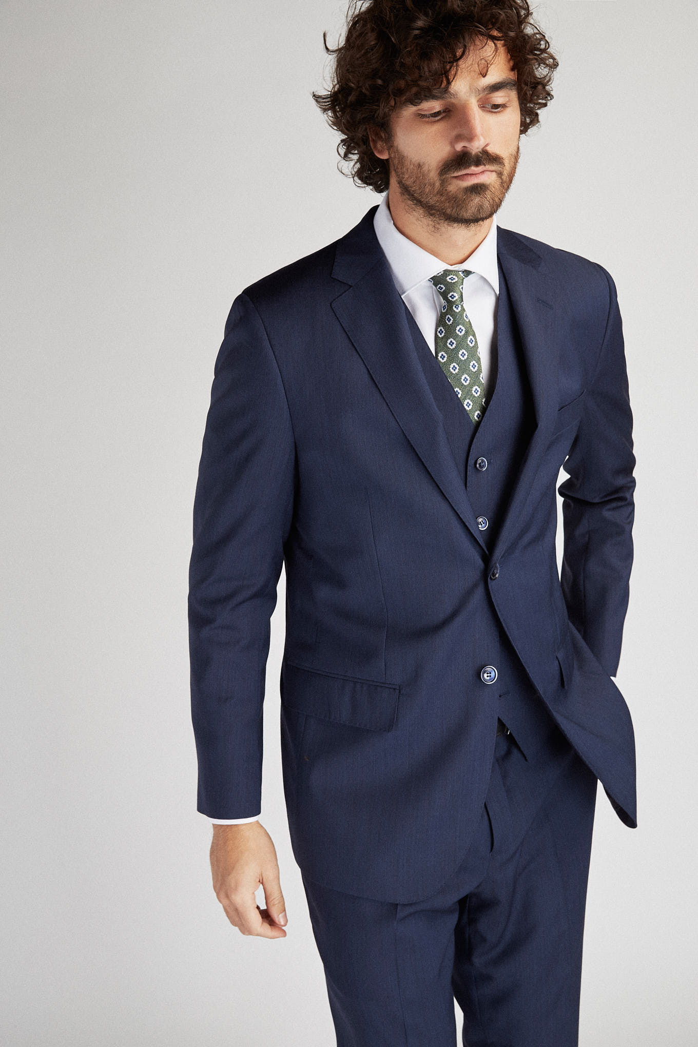 Suit with Vest Dark Blue Classic Man