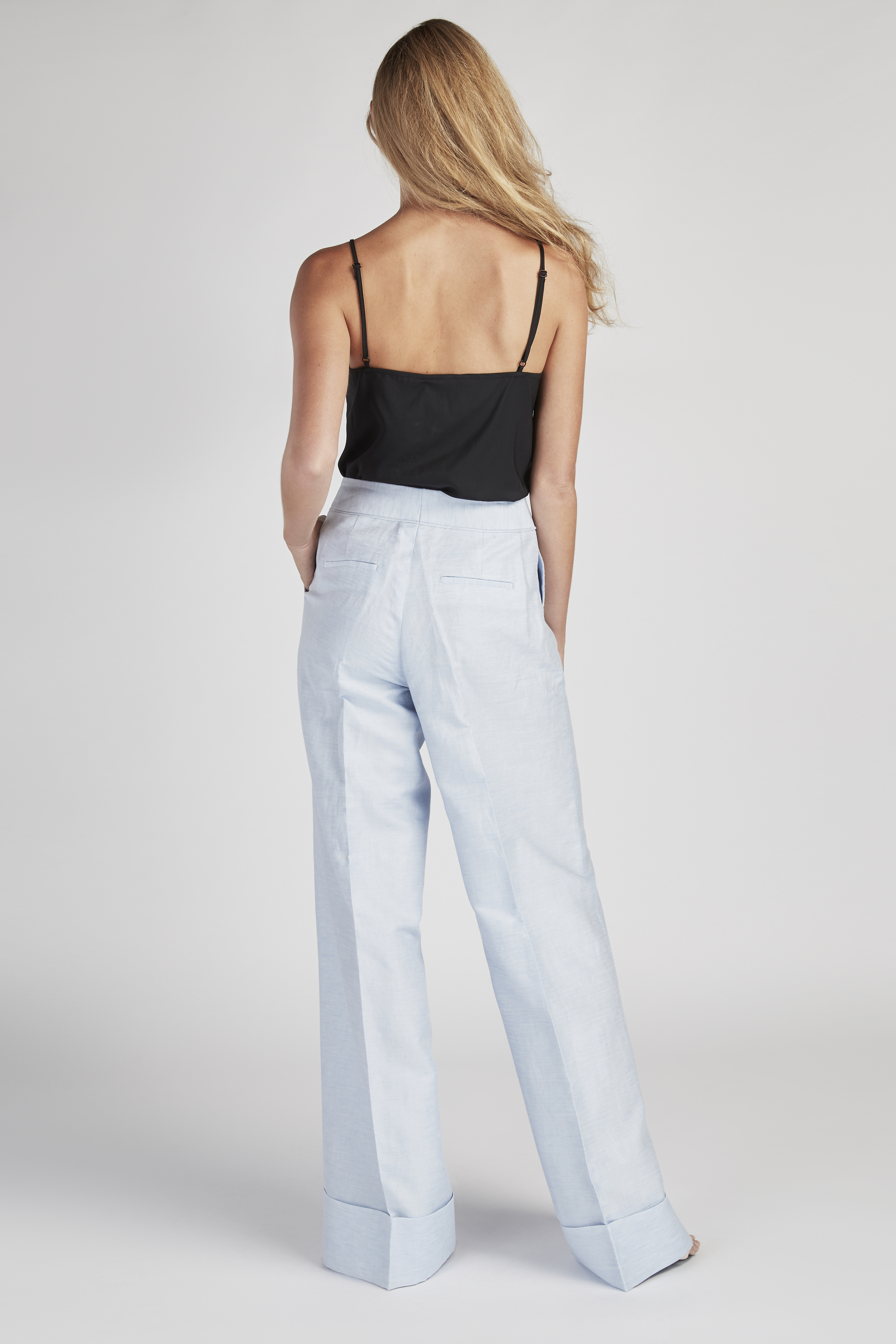 Trousers Light Blue Classic Woman