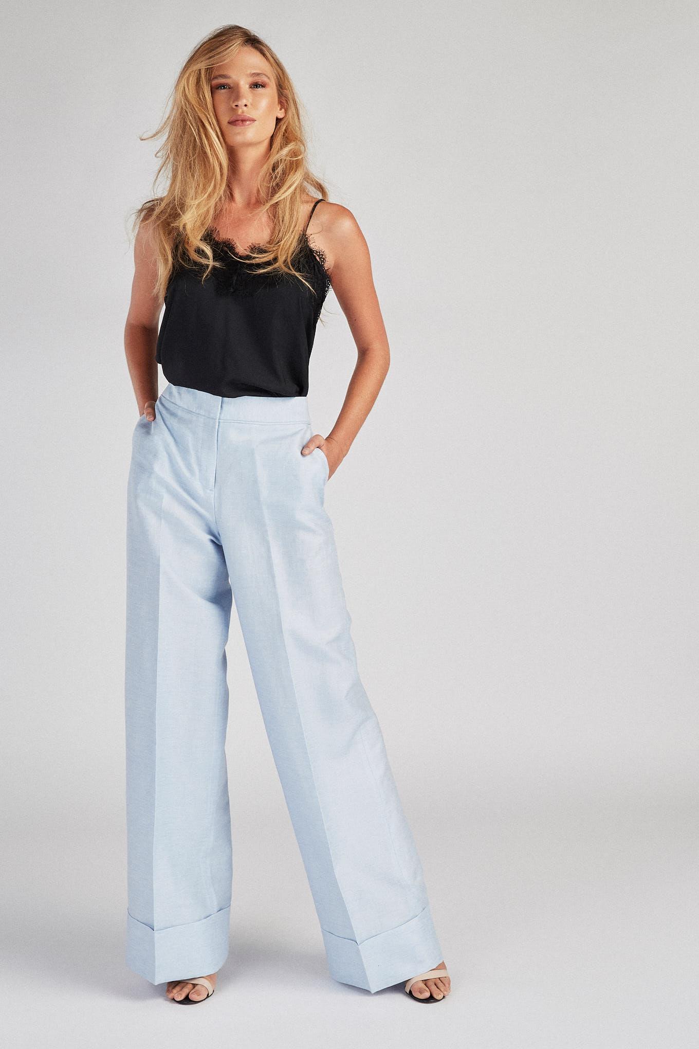 Calças Azul Claro Classic Mulher