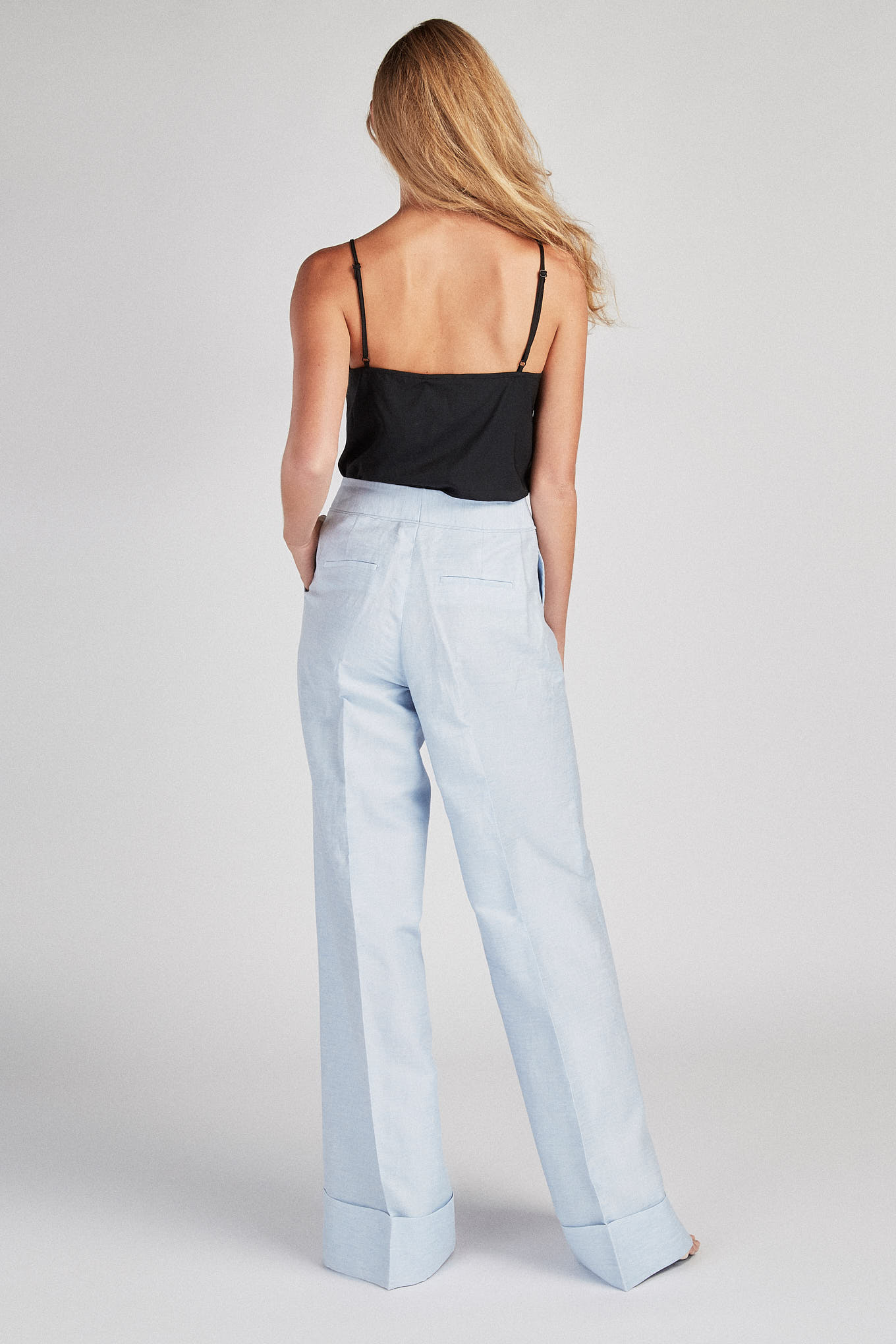 Trousers Light Blue Classic Woman