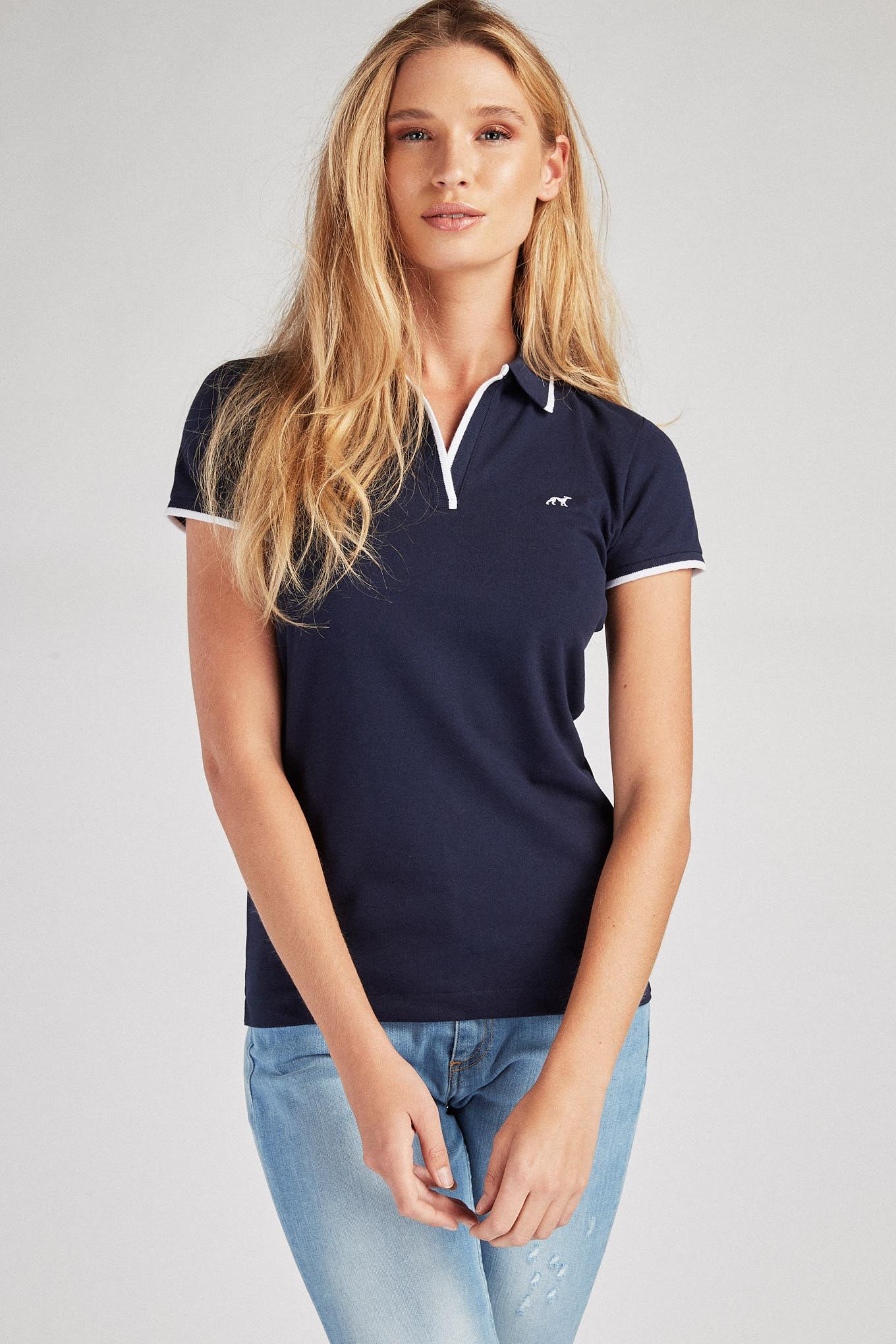Polo Piquet Azul Escuro Sport Mulher
