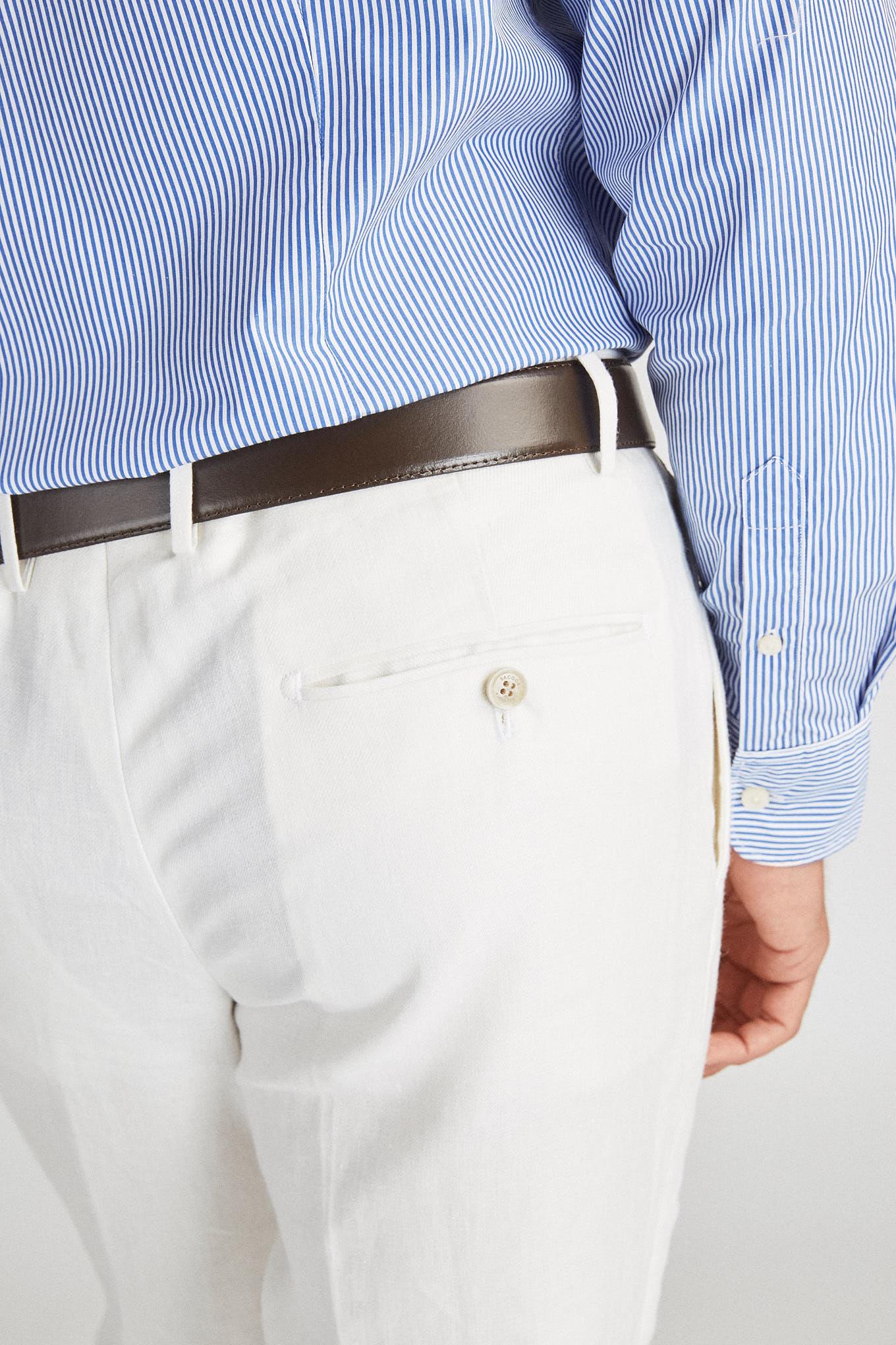 Calças Branco Classic Homem