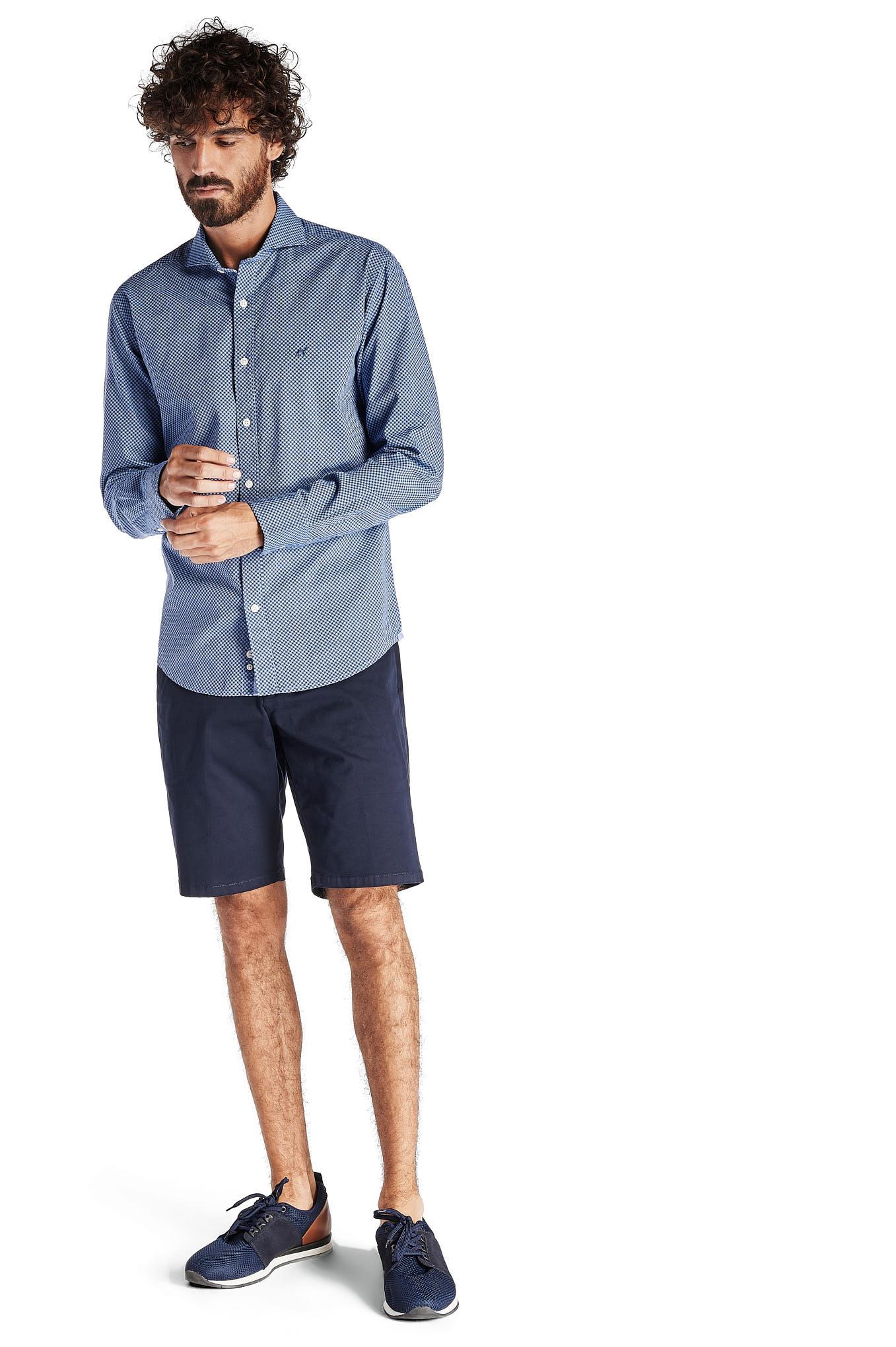 Camisa Azul Escuro Casual Homem