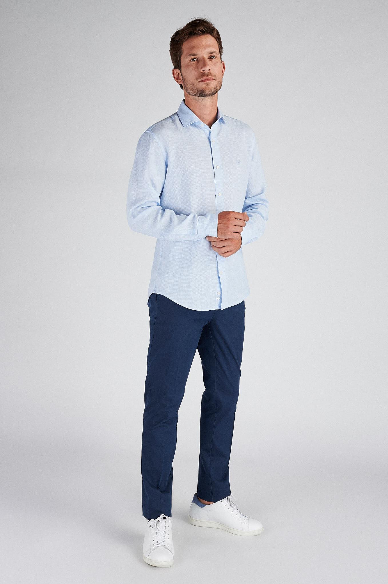 Camisa Azul Claro Casual Homem