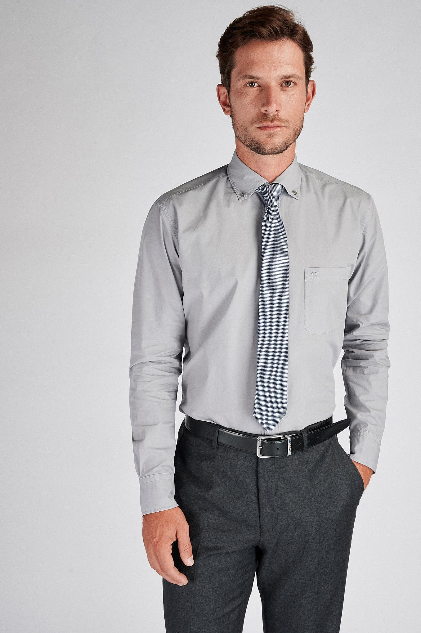 Camisa Cinza Claro Sport Homem